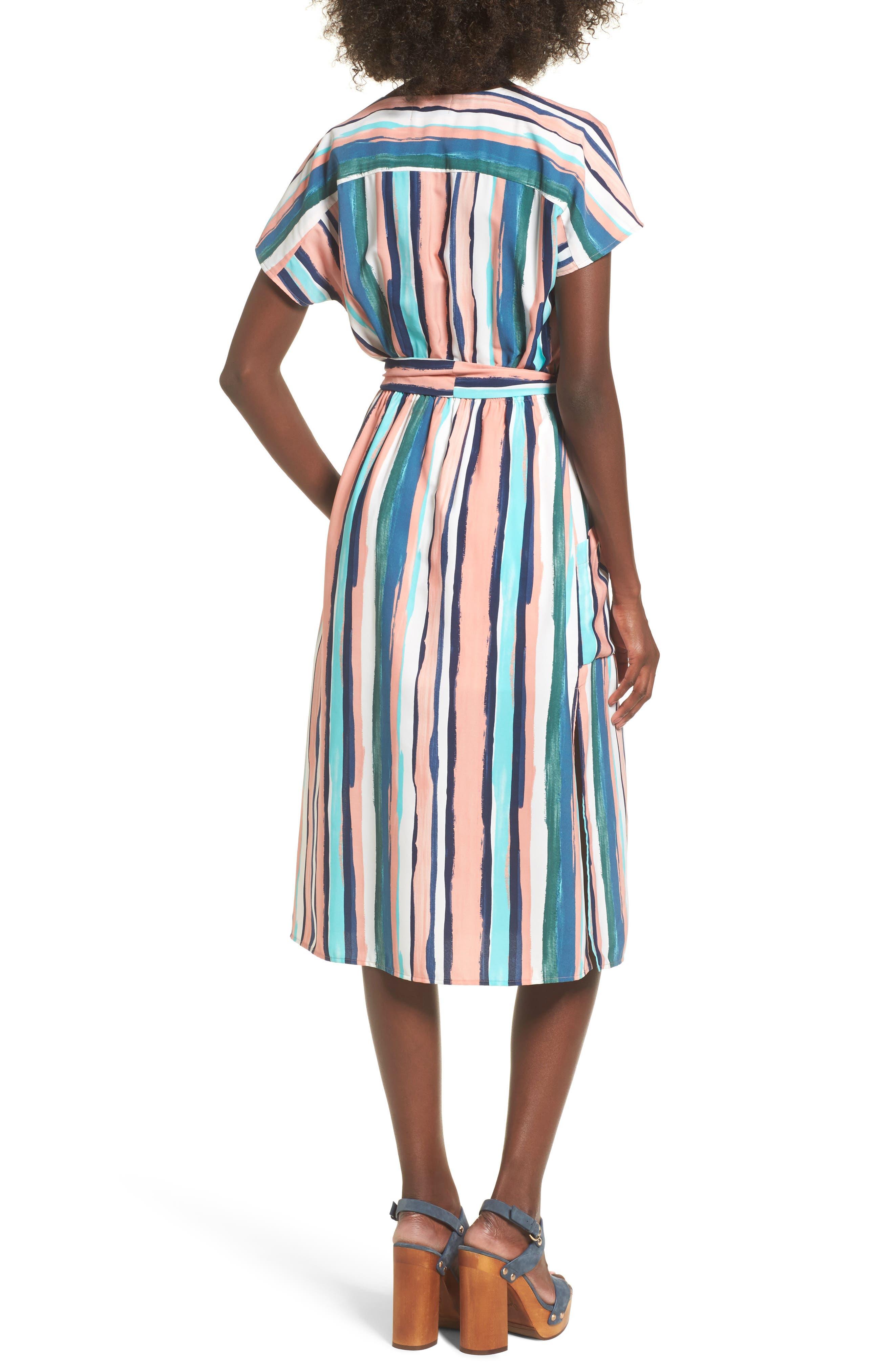 Santorini Faux Wrap Dress,                             Alternate thumbnail 2, color,                             MULTI PEACH