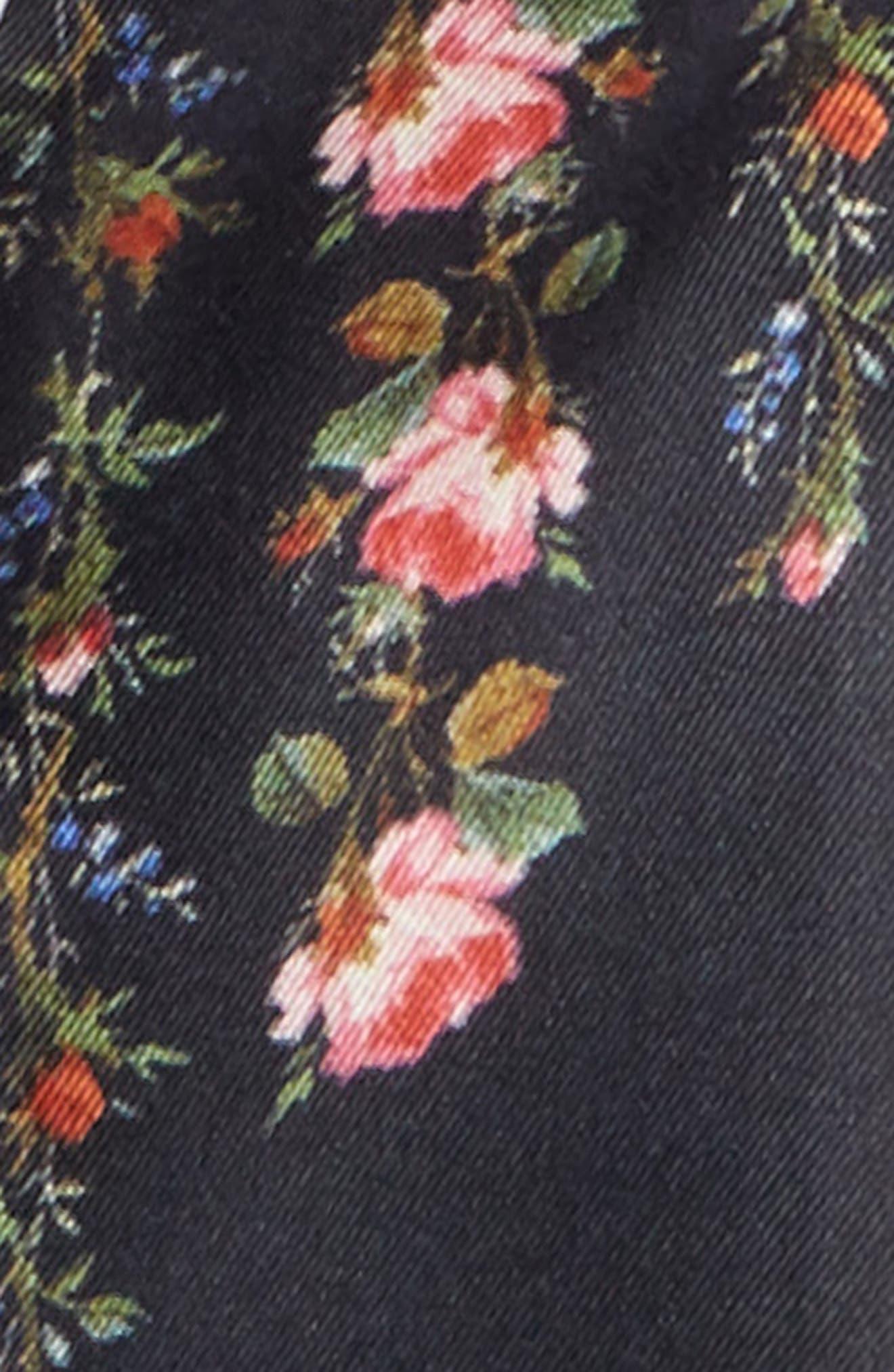 Rose Print Silk Neck Scarf,                             Alternate thumbnail 4, color,                             001