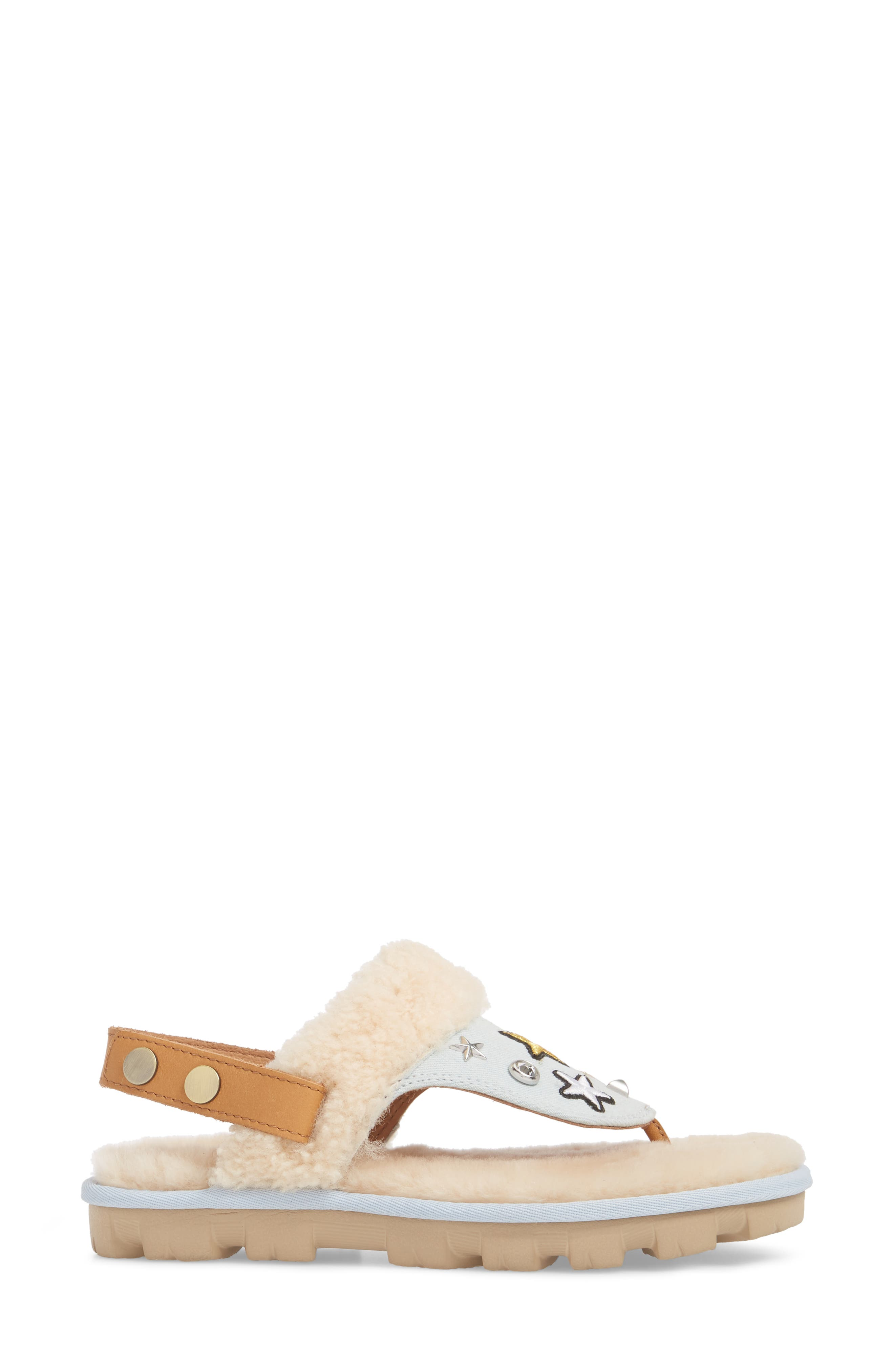 Patch It Slingback Sandal with Genuine Shearling Trim,                             Alternate thumbnail 3, color,                             BLEACH DENIM