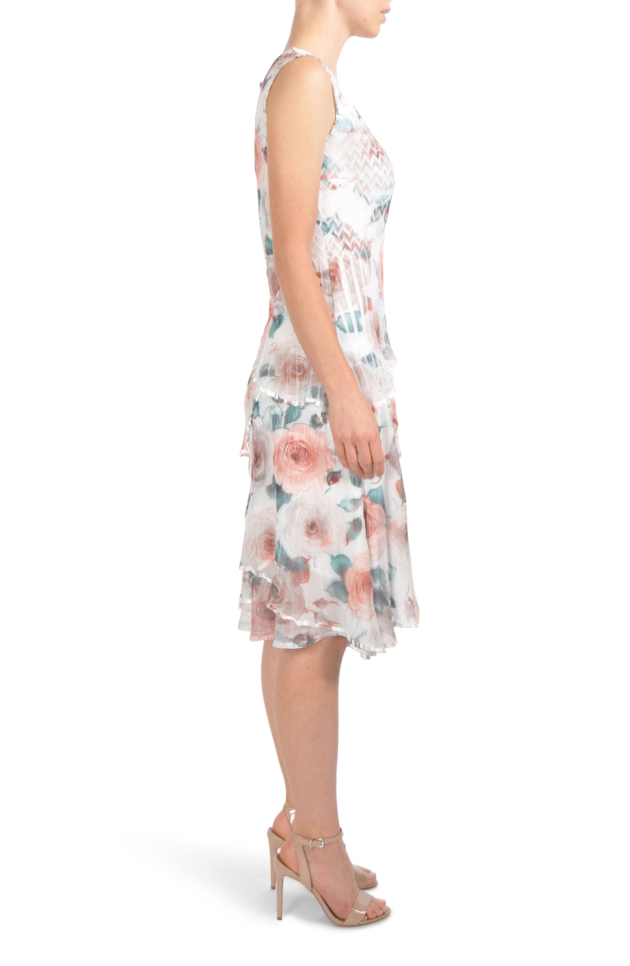 Tiered Chiffon Dress with Wrap,                             Alternate thumbnail 3, color,                             401