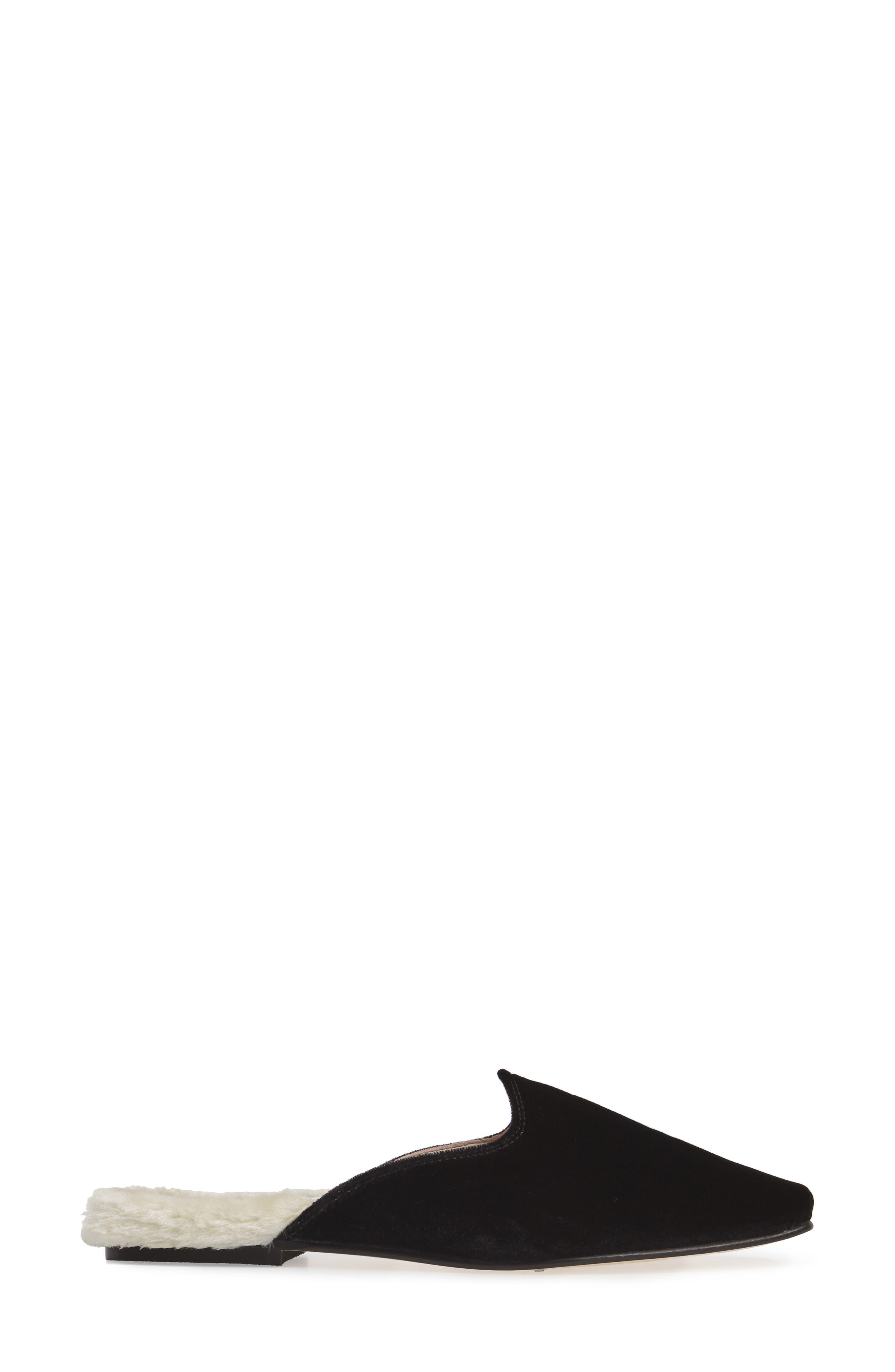Velvet Mule with Faux Fur Lining,                             Alternate thumbnail 3, color,                             001