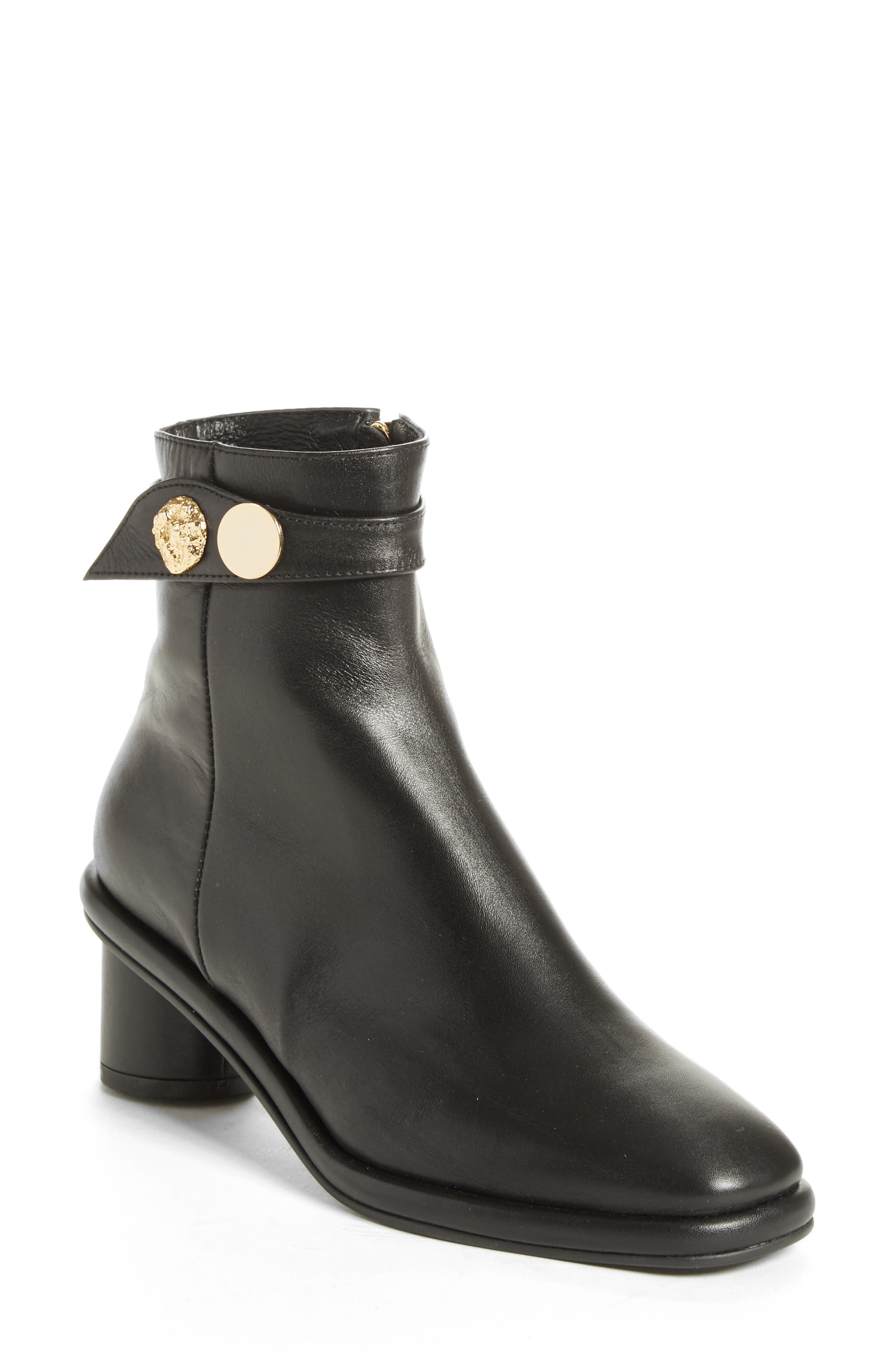 Gold Hardware Ankle Boot,                             Main thumbnail 1, color,                             BLACK