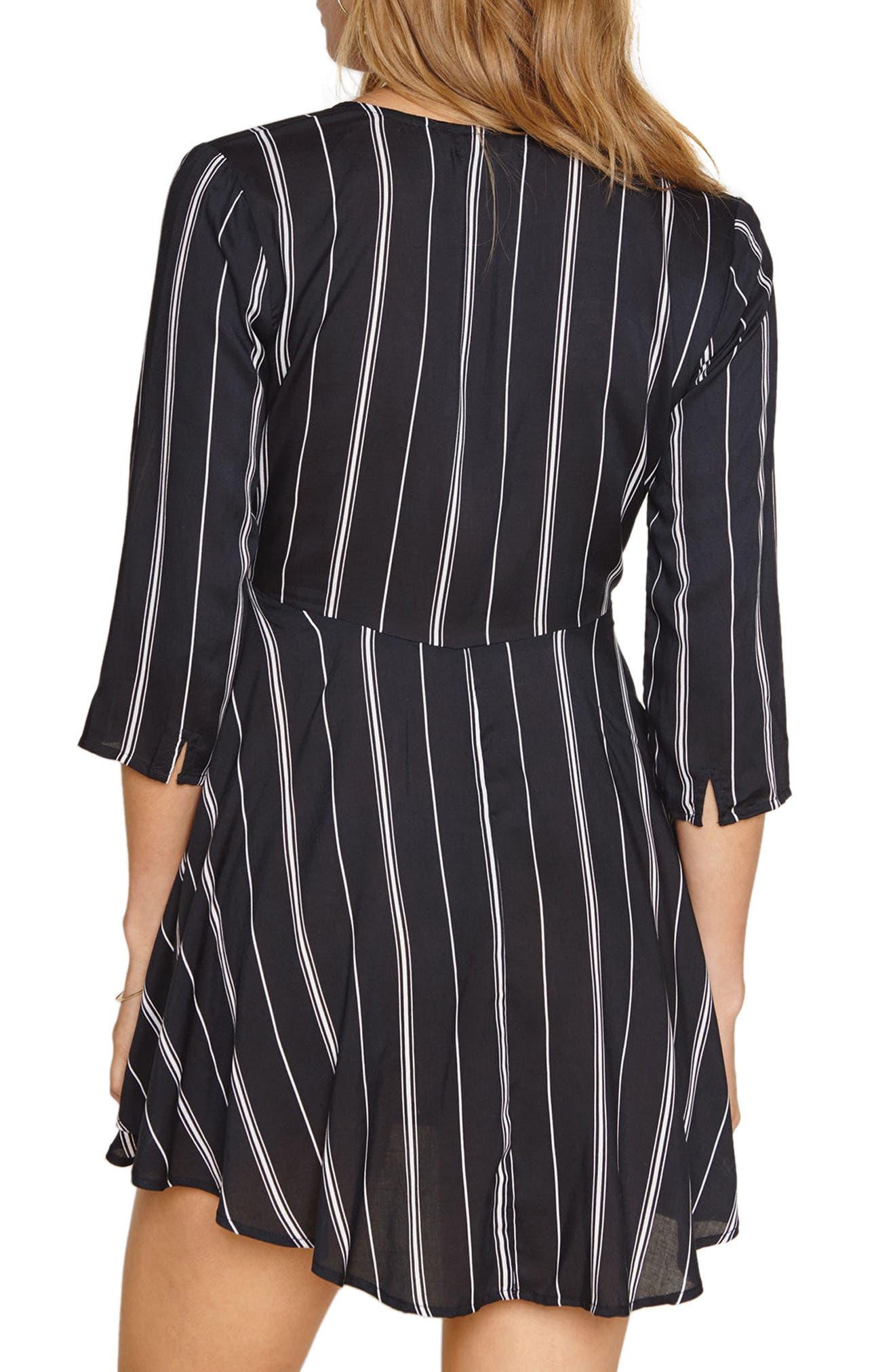 Let's Knot Stripe Skater Dress,                             Alternate thumbnail 2, color,                             001