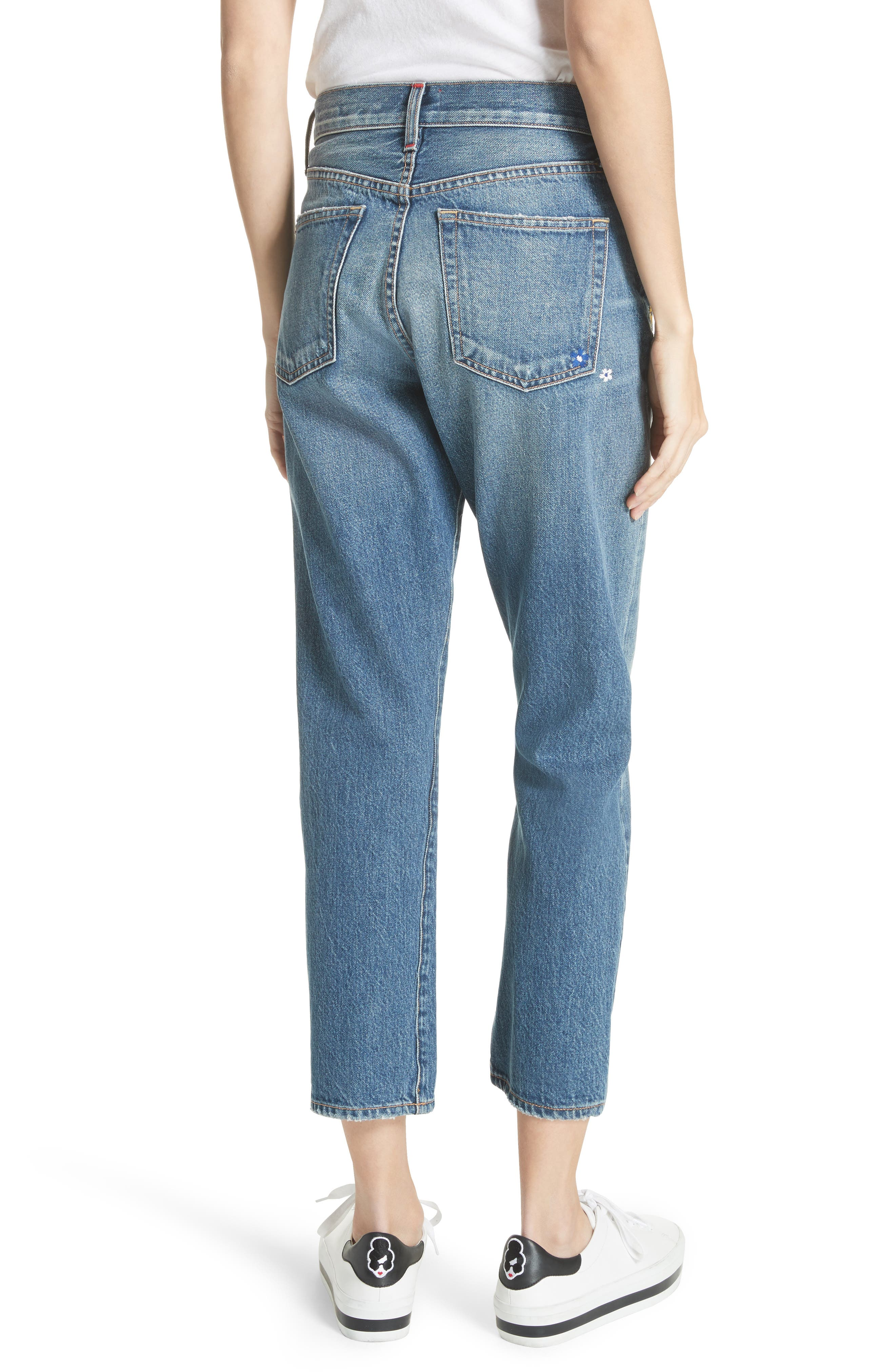 AO.LA Amazing Embroidered Slim Girlfriend Jeans,                             Alternate thumbnail 2, color,                             496