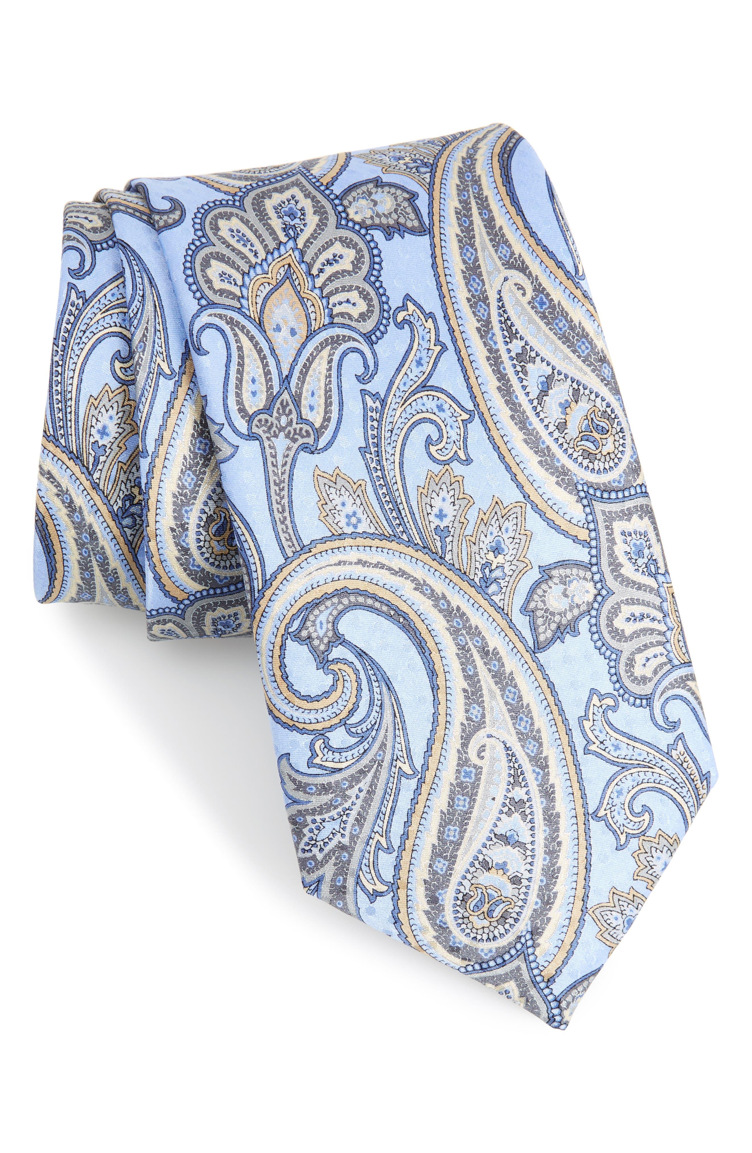 Paisley Silk Tie,                             Main thumbnail 1, color,                             425