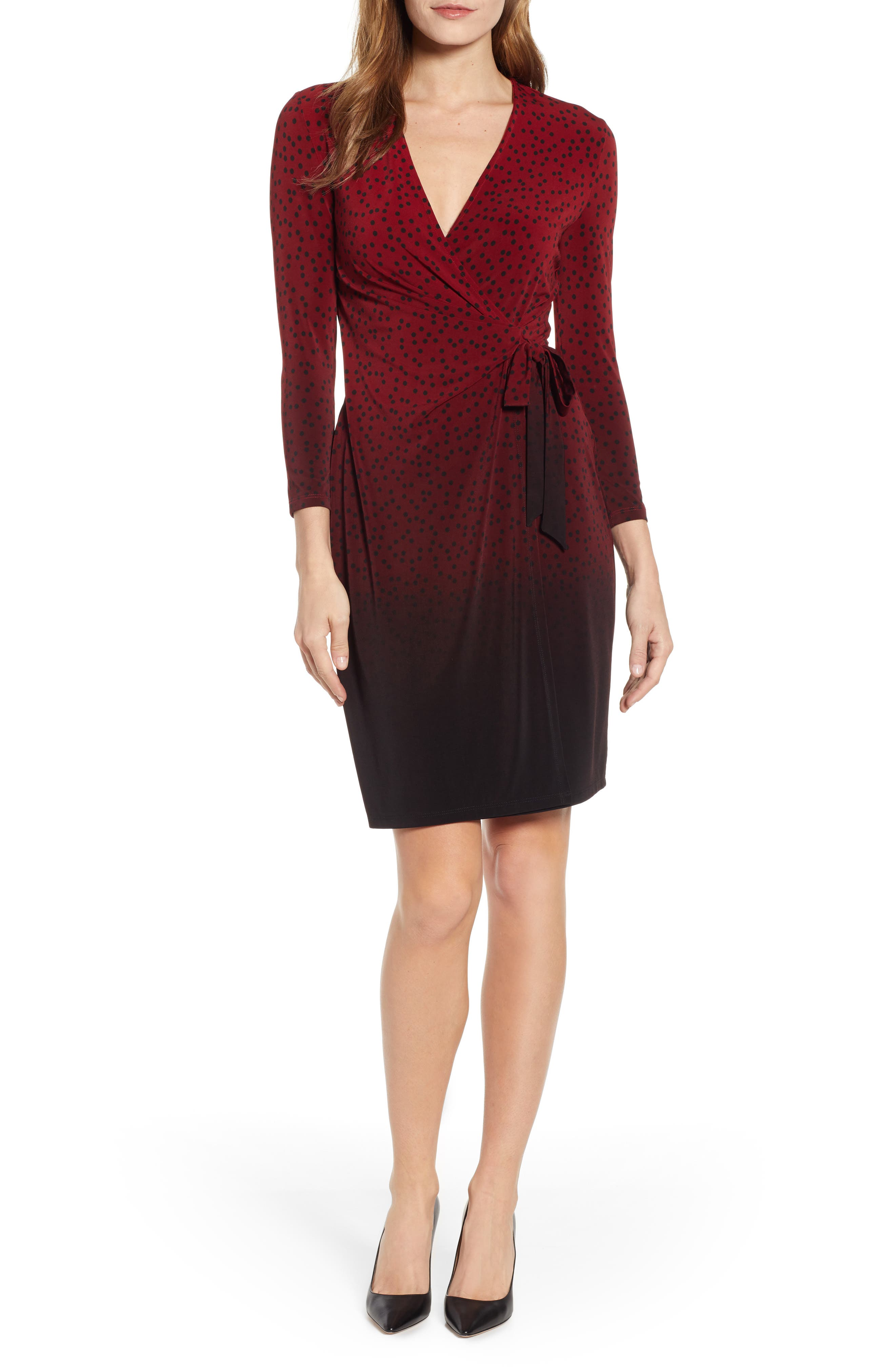 ANNE KLEIN,                             Camille Dot Faux Wrap Dress,                             Main thumbnail 1, color,                             DK TITIAN RED/ ANNE BLK COMBO