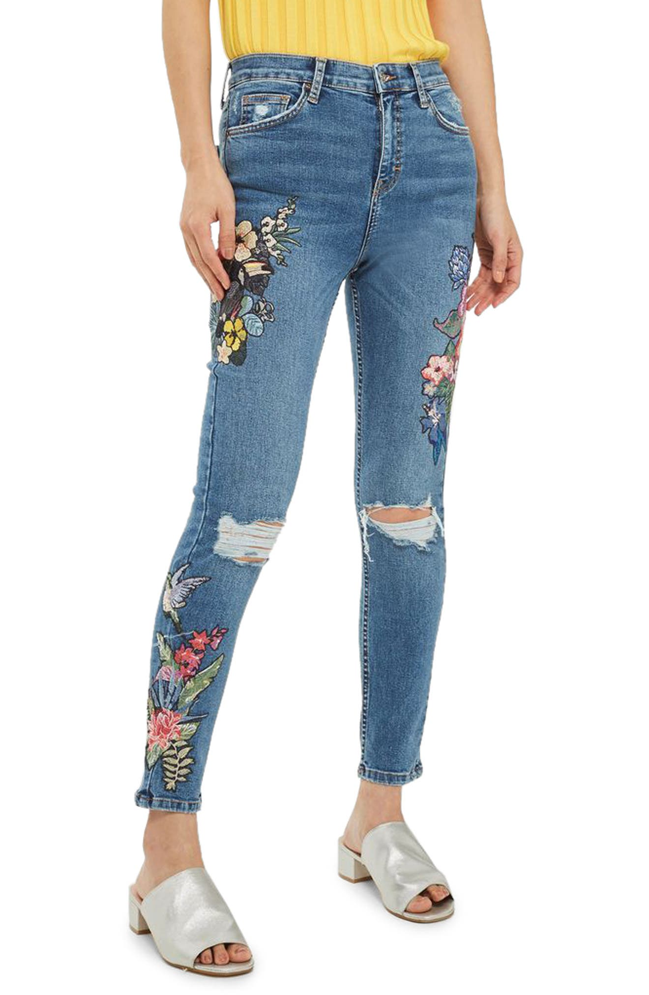 Jamie Embroidered Rip Skinny Jeans,                             Main thumbnail 1, color,                             400