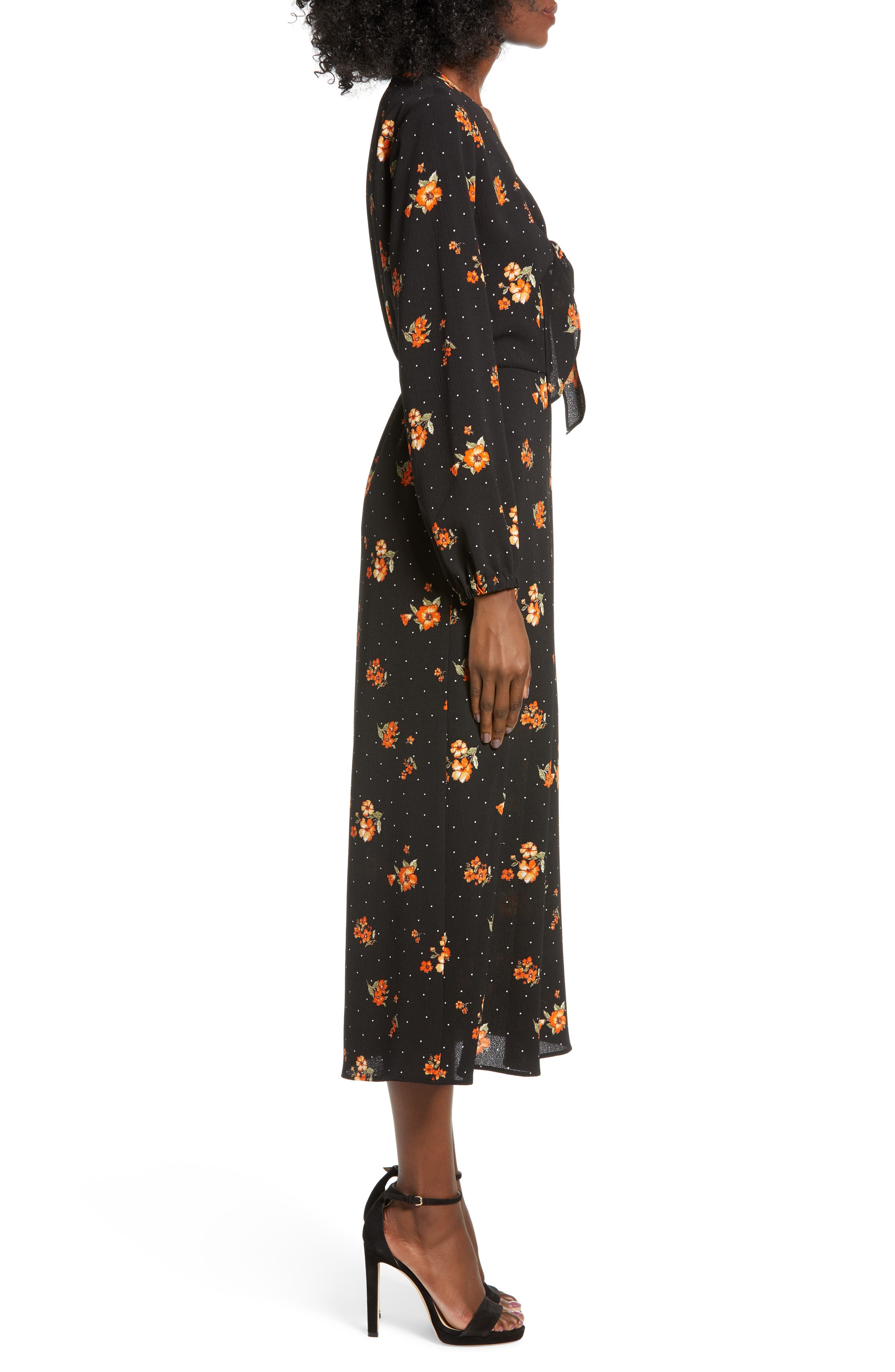 ALL IN FAVOR,                             Tie Detail Midi Dress,                             Alternate thumbnail 3, color,                             001