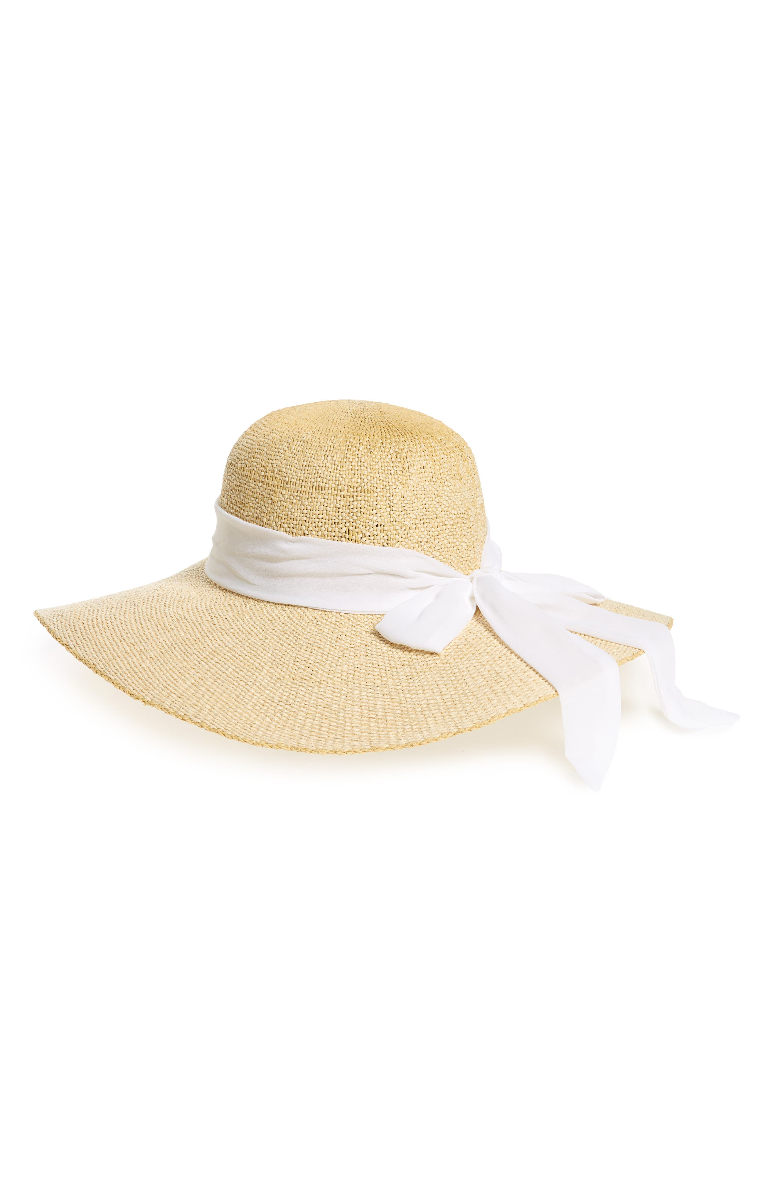 Bow Scarf Straw Floppy Hat,                             Main thumbnail 1, color,                             108