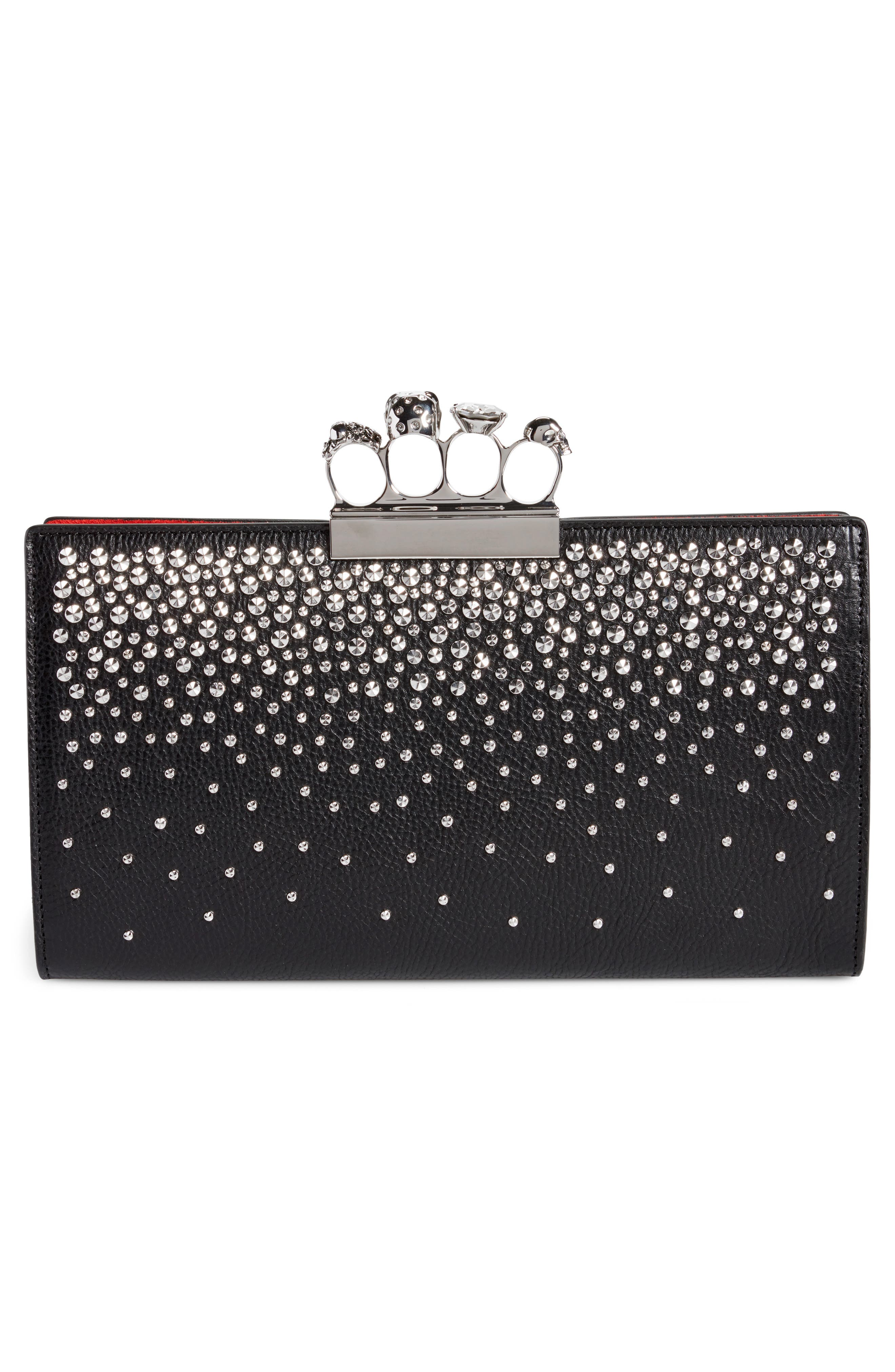 Studded Knuckle Clasp Leather Clutch,                             Alternate thumbnail 3, color,