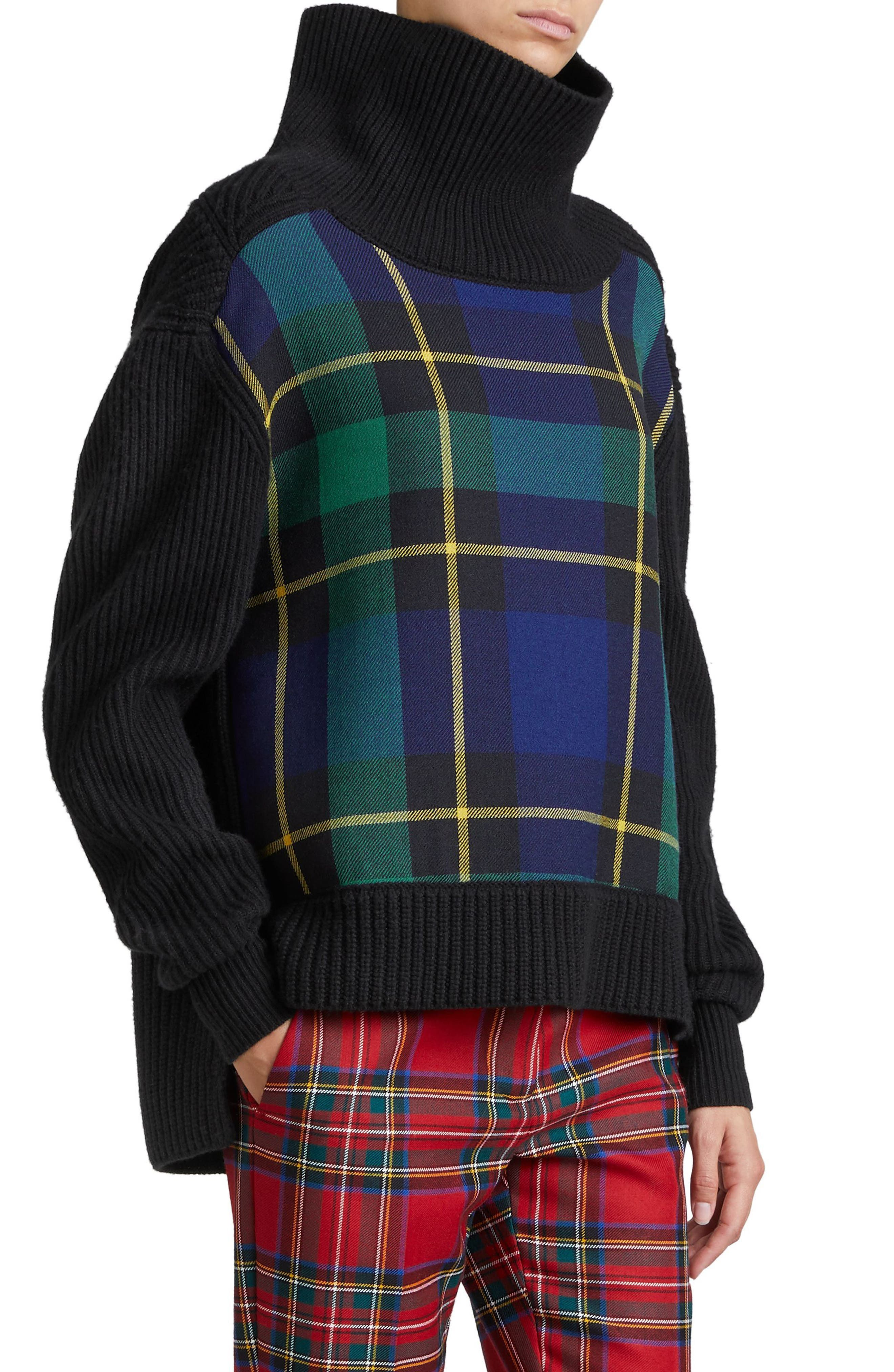 Fiora Check Wool & Cashmere Turtleneck Sweater,                             Alternate thumbnail 3, color,                             001