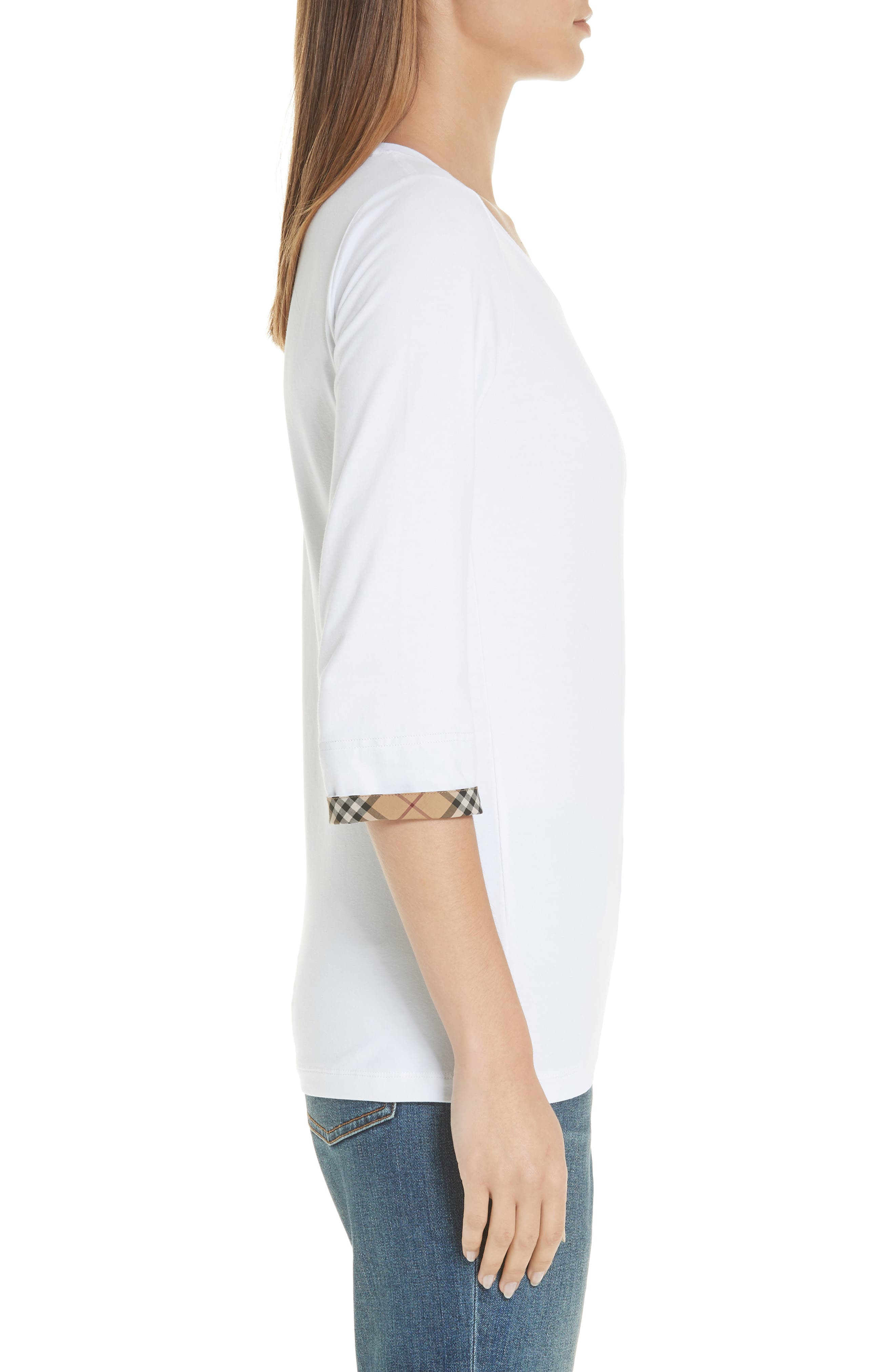 Lohit Check Cuff Stretch Cotton Tee,                             Alternate thumbnail 3, color,                             100