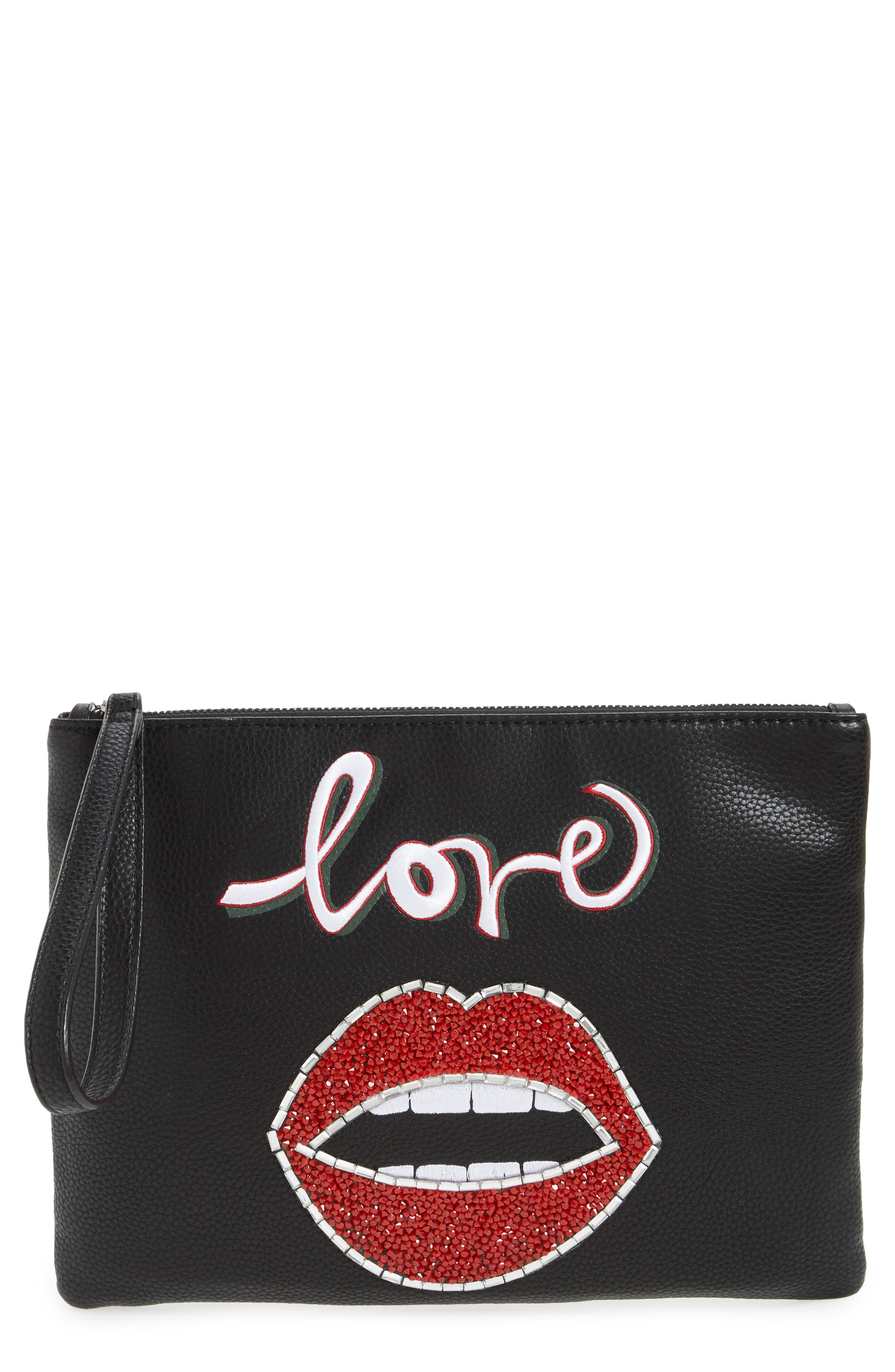 Elli Love Embellished Pouch,                             Main thumbnail 1, color,                             001