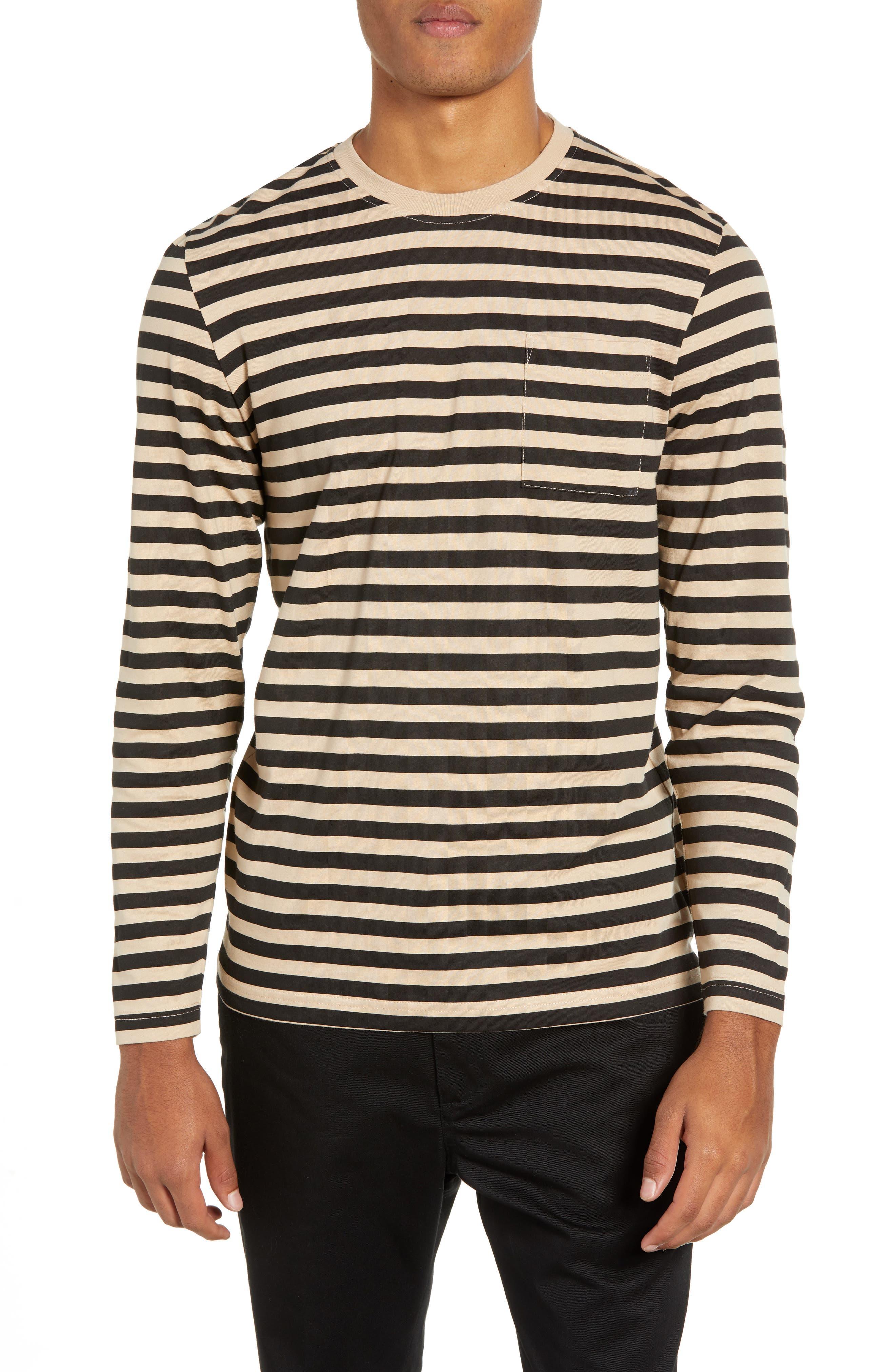 Wesc Makai Stripe Long Sleeve Pocket T-Shirt, Beige