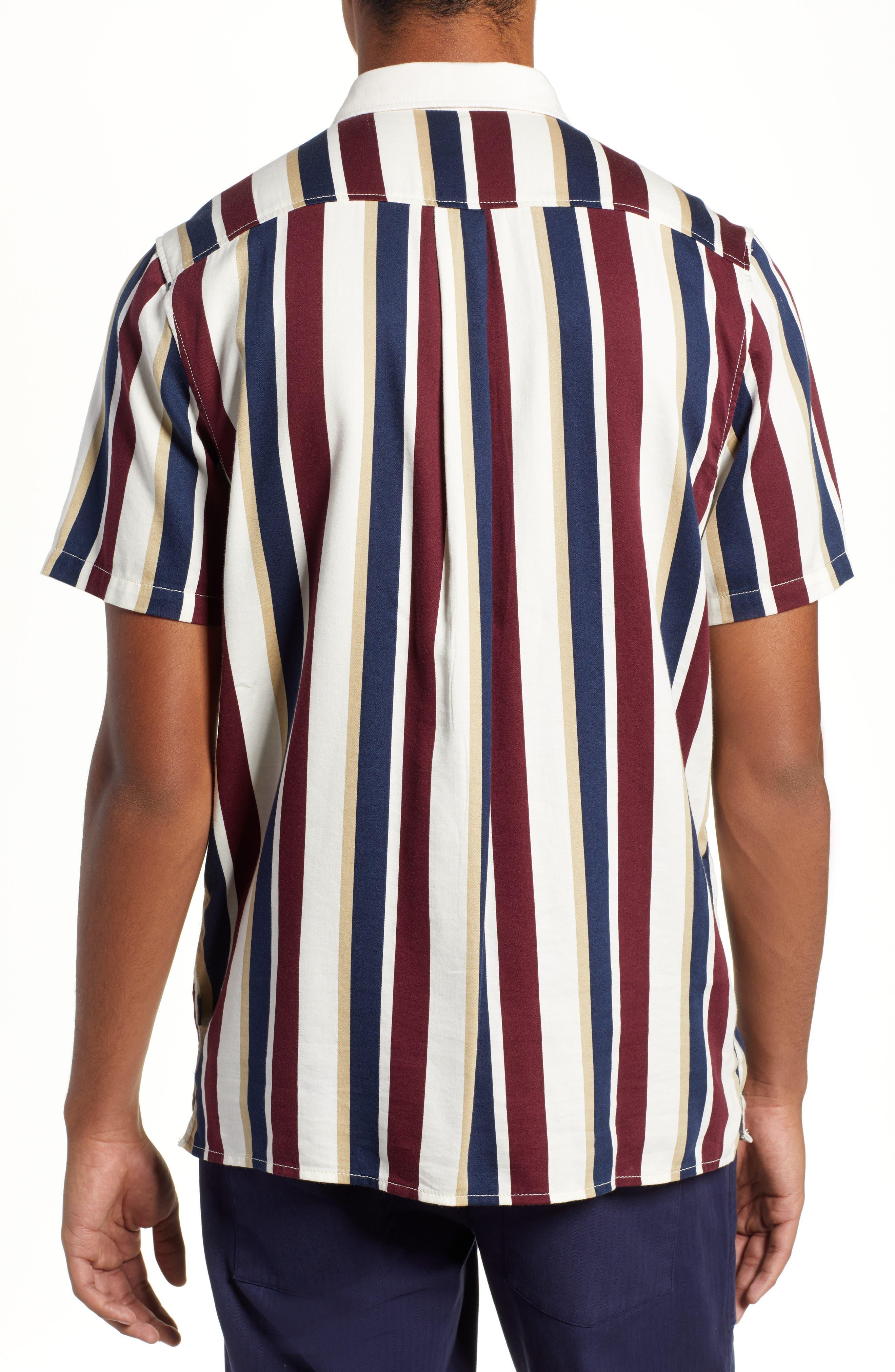 Big Bars Short Sleeve Shirt,                             Alternate thumbnail 3, color,                             OFF WHITE