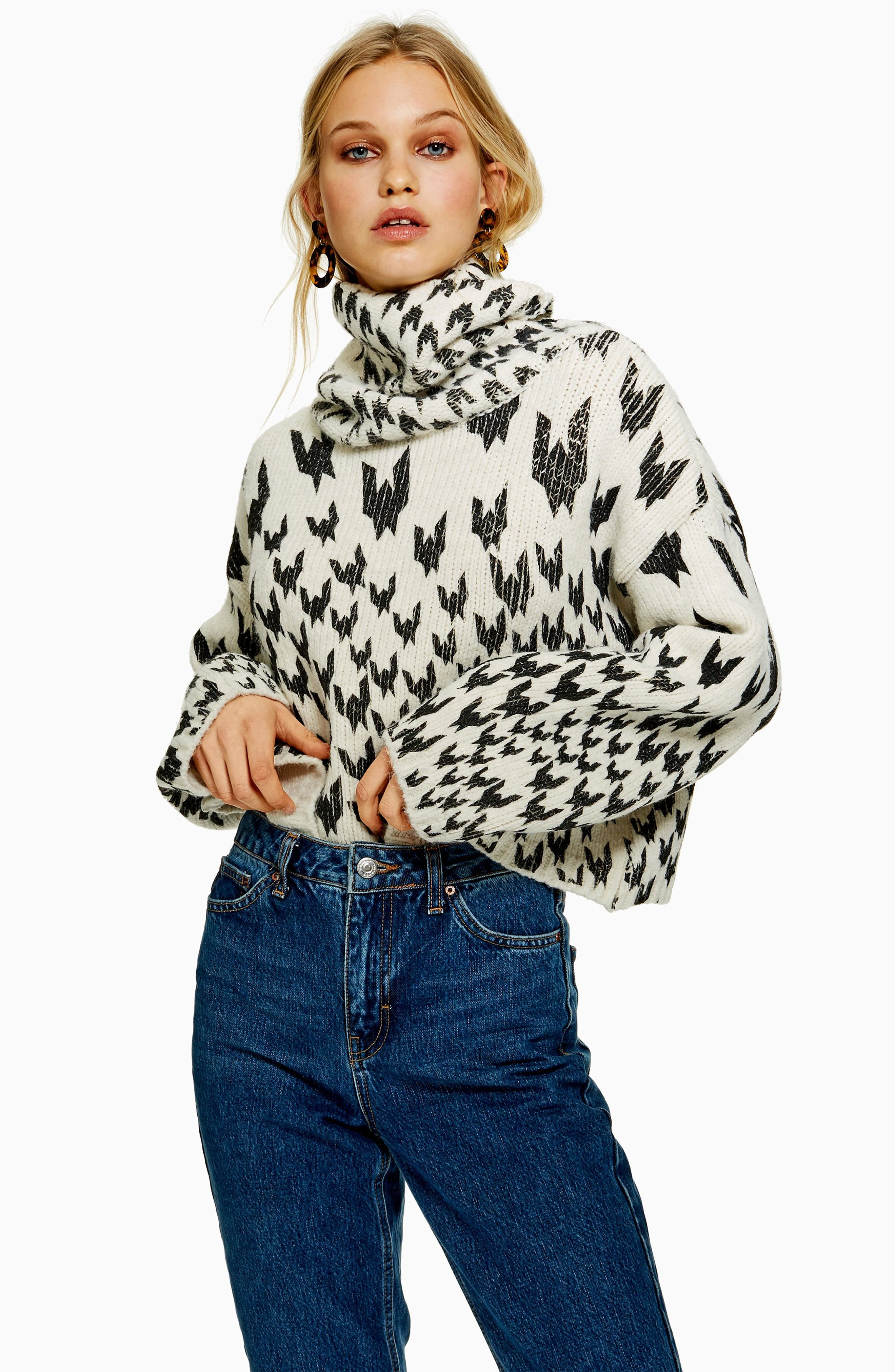 TOPSHOP,                             Dogtooth Chunky Roll Neck Sweater,                             Alternate thumbnail 5, color,                             IVORY MULTI