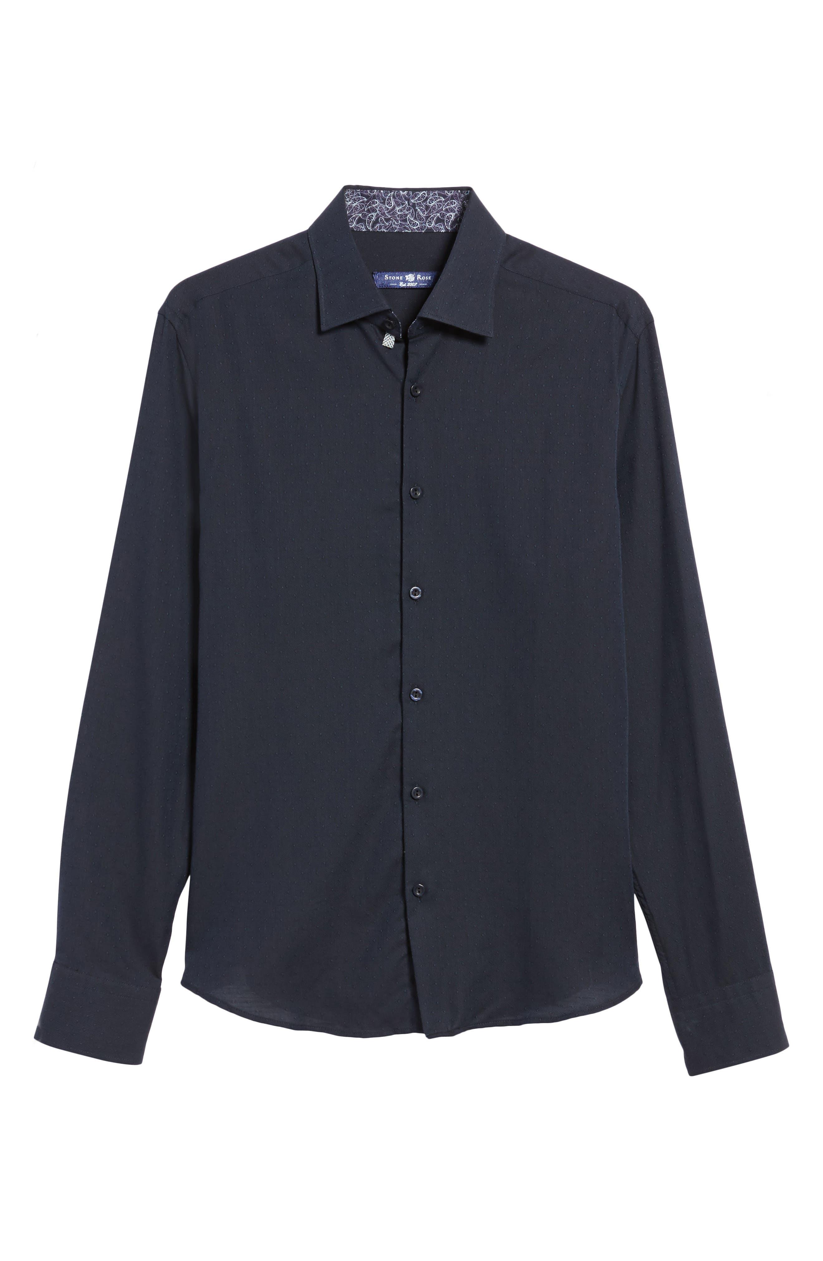 Slim Fit Diamond Twill Sport Shirt,                             Alternate thumbnail 6, color,                             NAVY