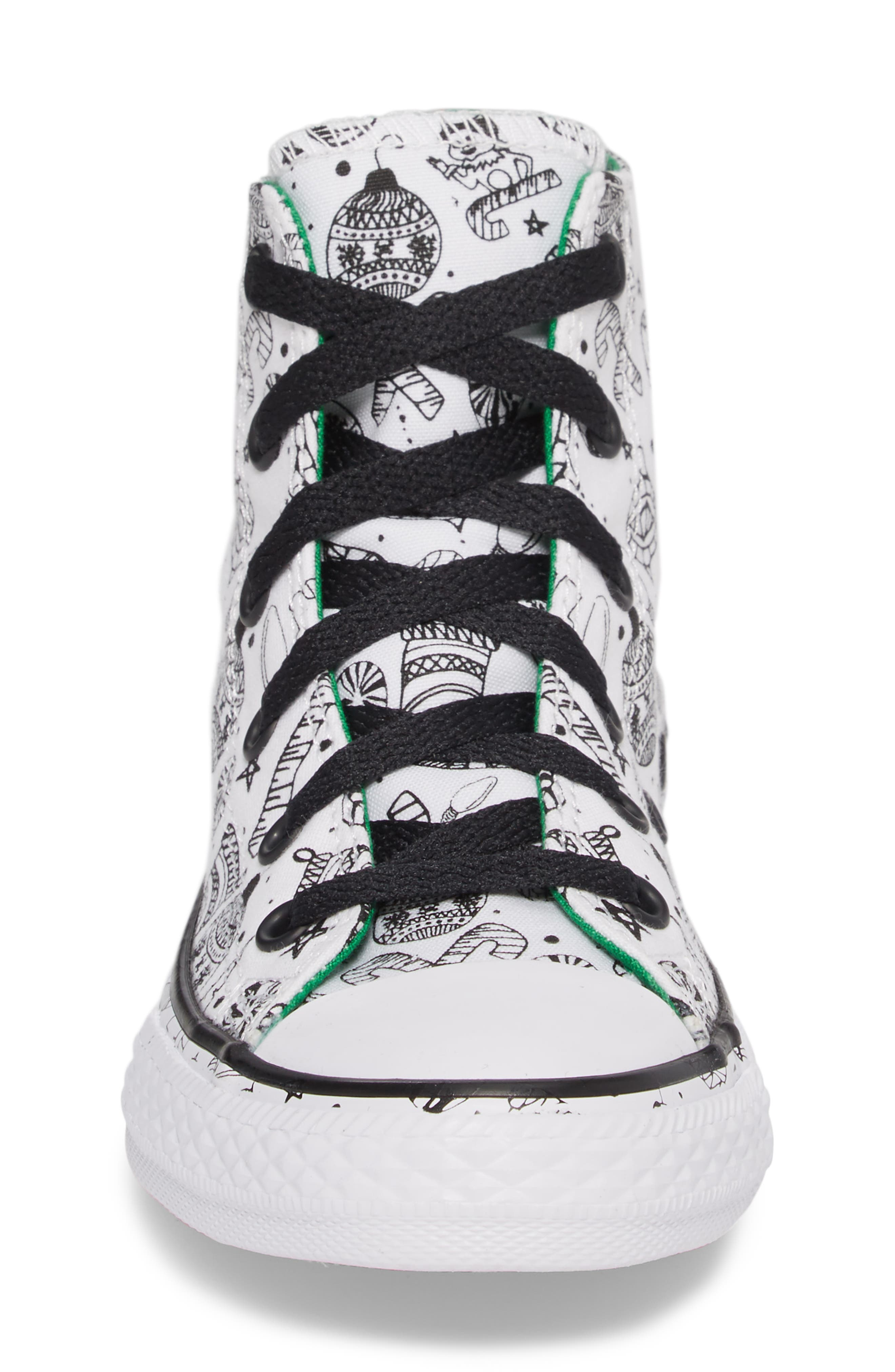 Chuck Taylor<sup>®</sup> All Star<sup>®</sup> Christmas Coloring Book High Top Sneaker,                             Alternate thumbnail 4, color,