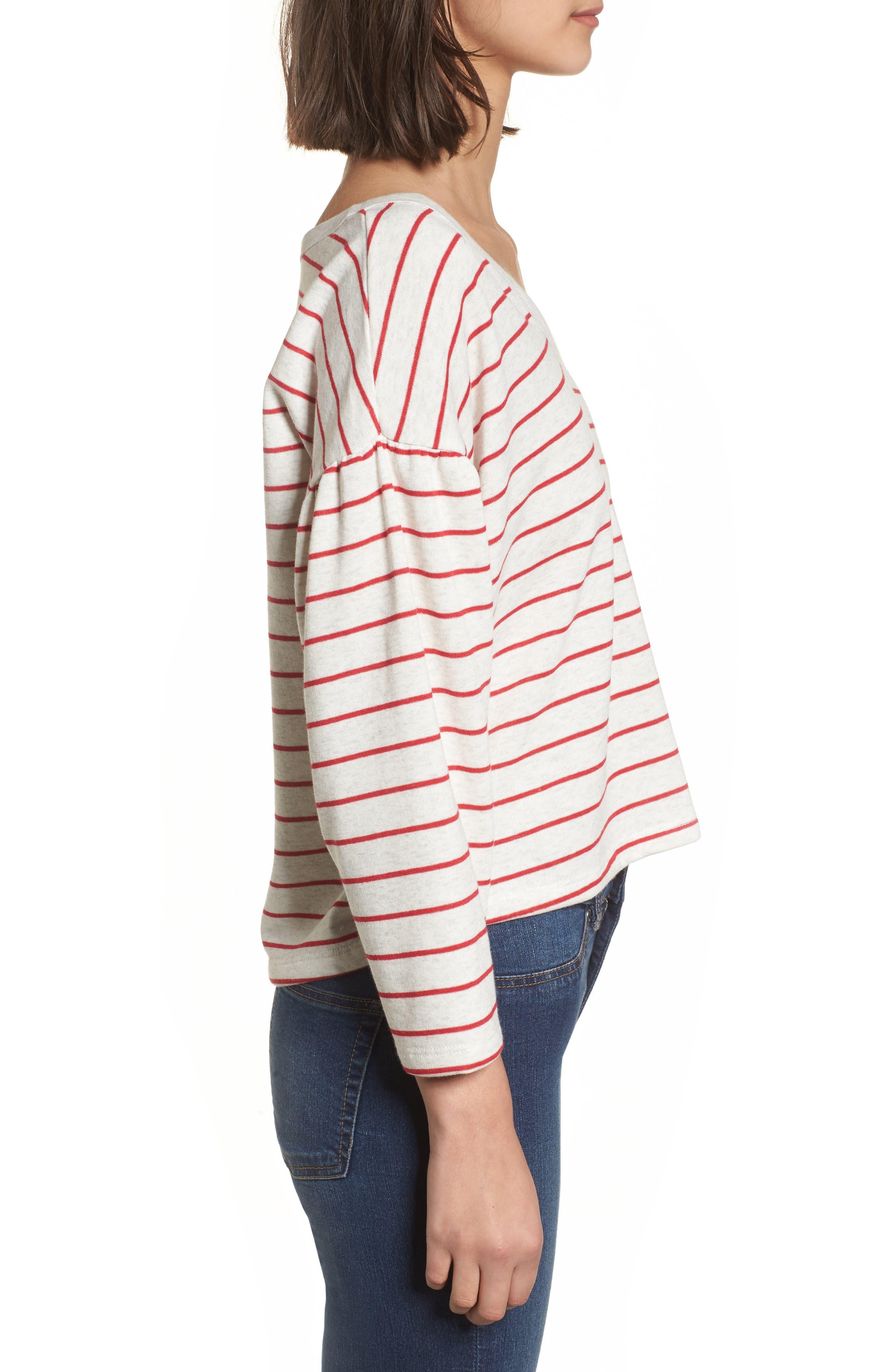 Drop Shoulder Stripe Sweater,                             Alternate thumbnail 6, color,