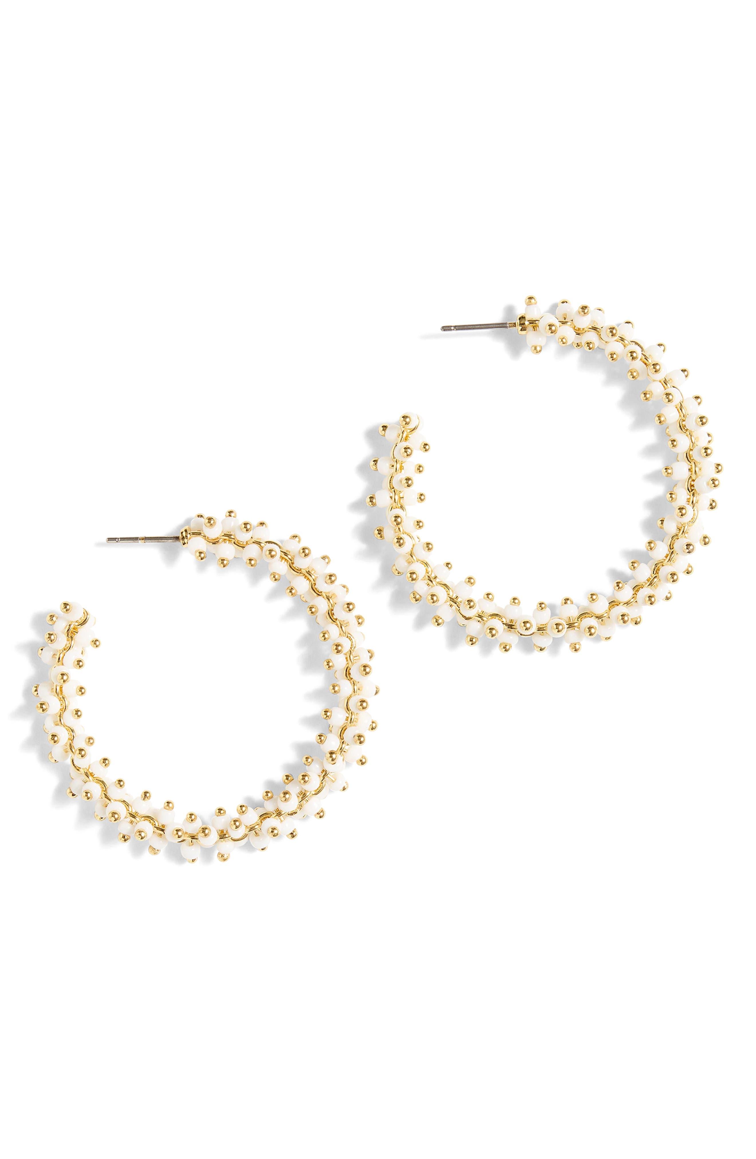 Beaded Hoop Earrings,                         Main,                         color, 100