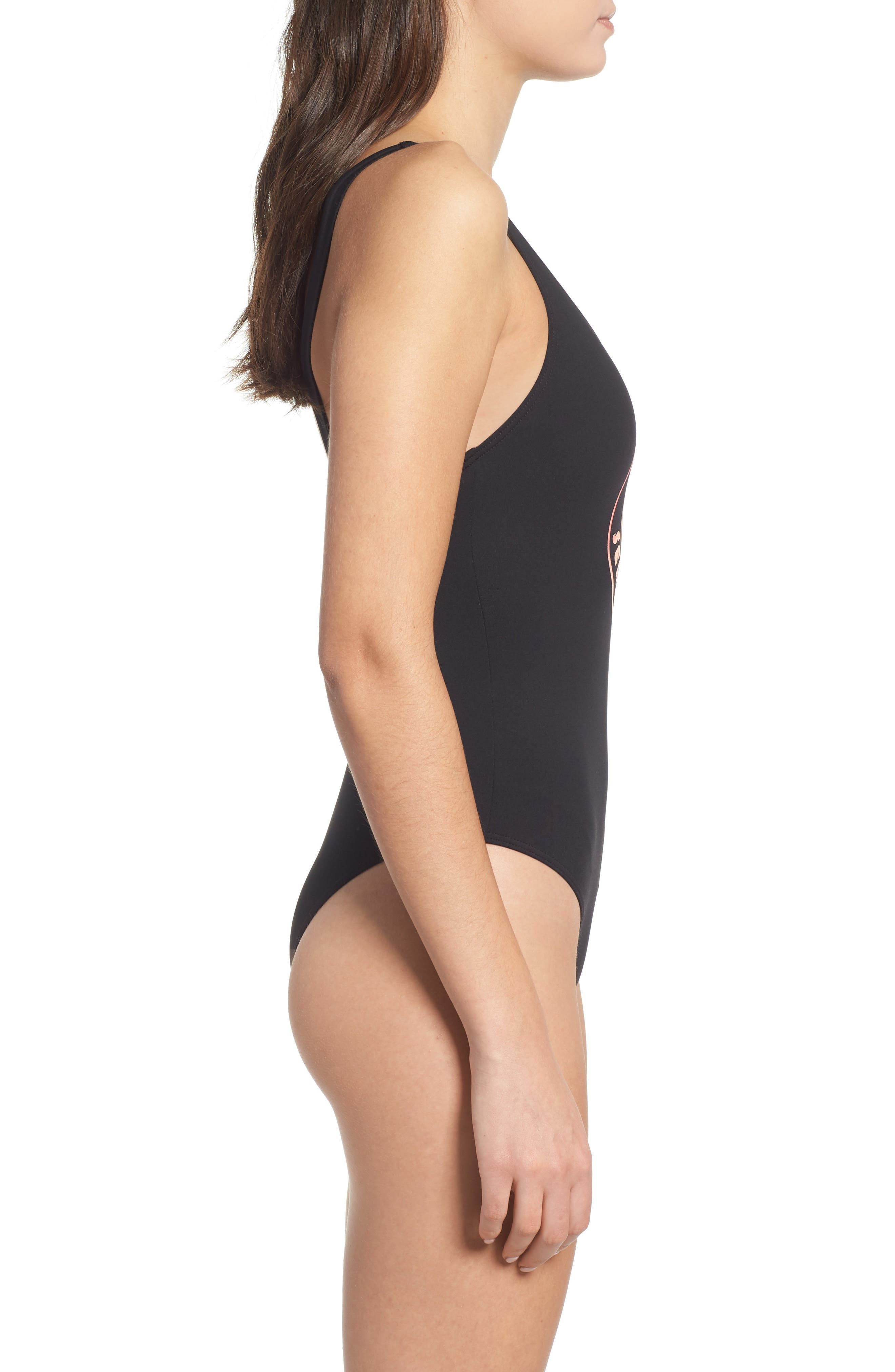 Search Vibes One-Piece Swimsuit,                             Alternate thumbnail 3, color,                             BLACK