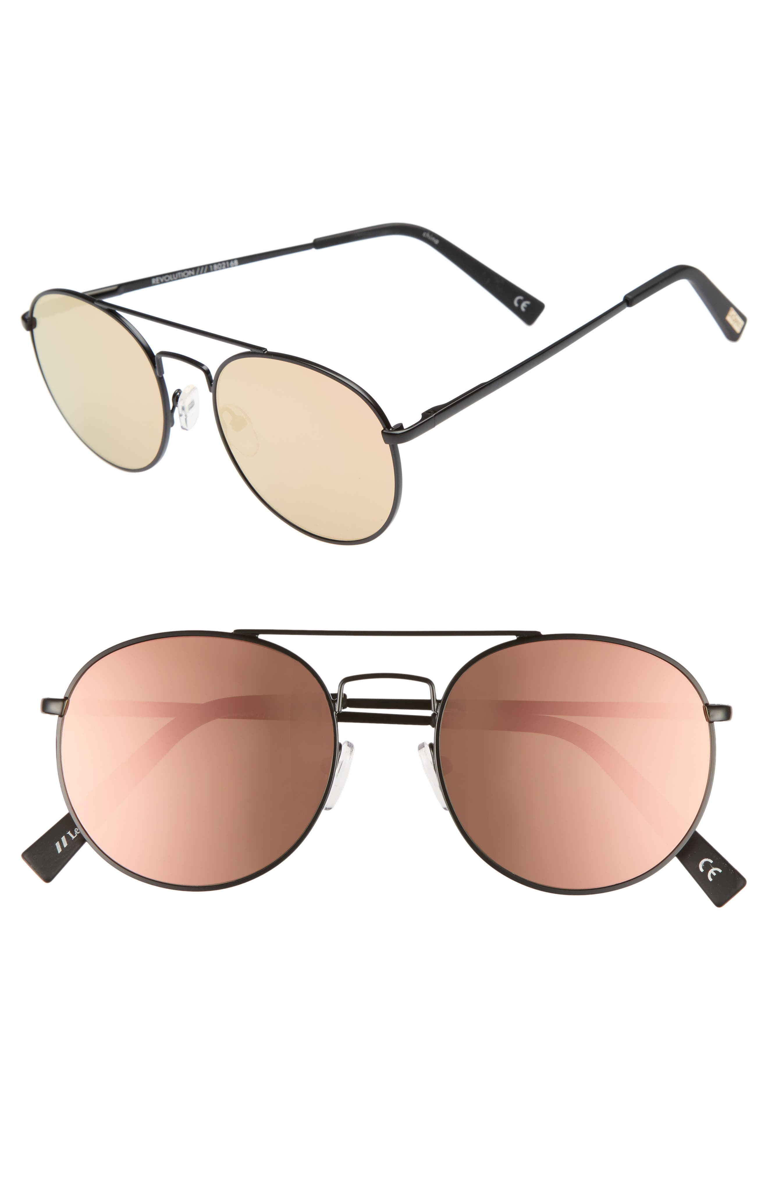 Revolution 53mm Aviator Sunglasses,                         Main,                         color, MATTE BLACK
