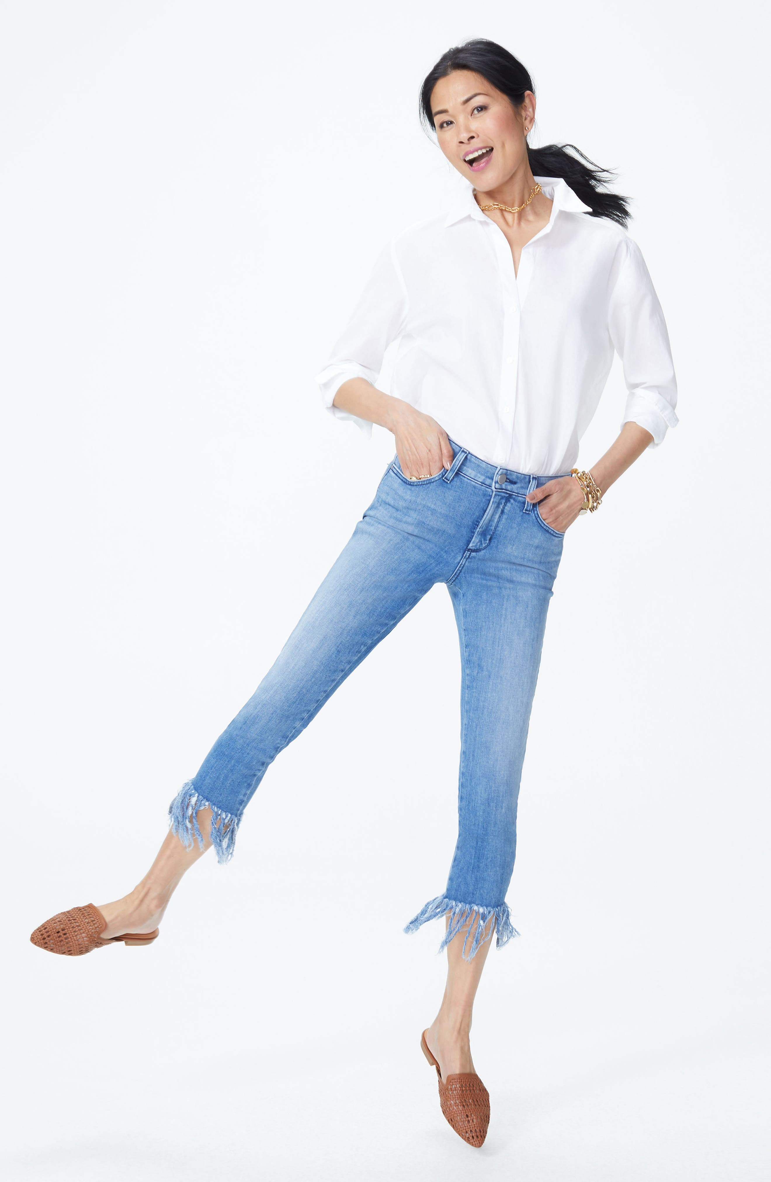 Ami High Waist Long Fray Skinny Stretch Ankle Jeans,                             Alternate thumbnail 6, color,                             425