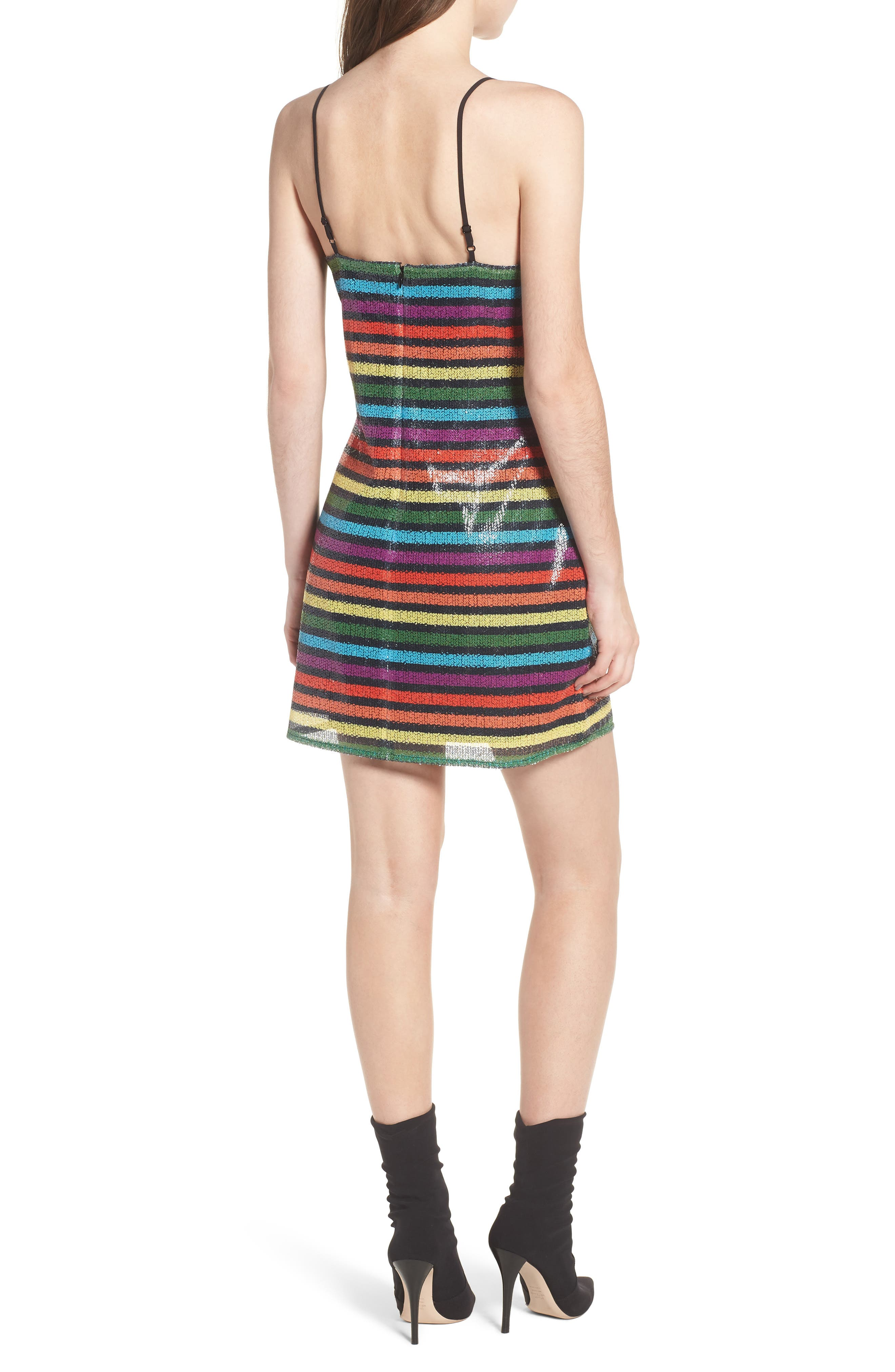 Lille Rainbow Stripe Sequin Minidress,                             Alternate thumbnail 2, color,                             600