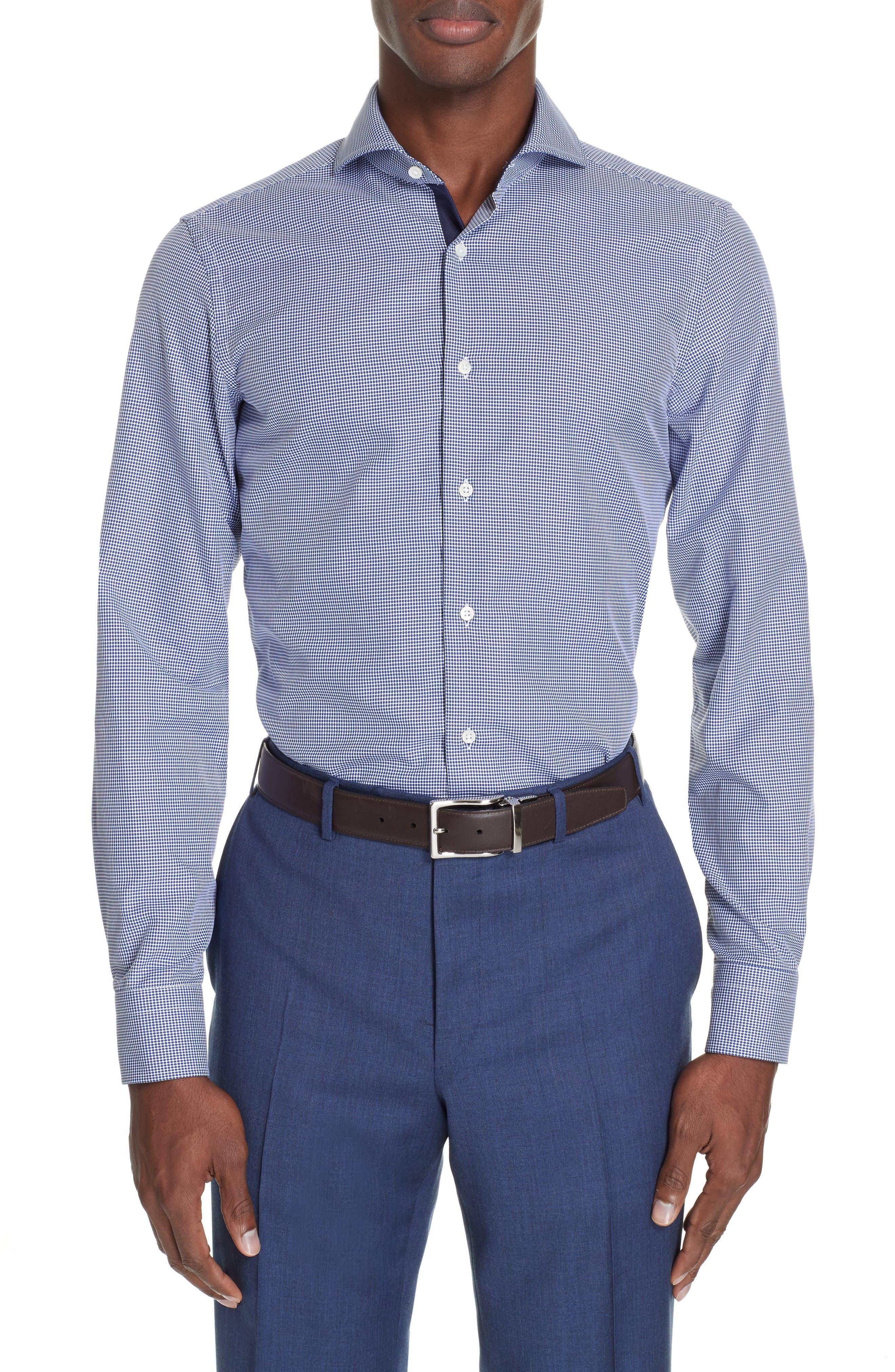 Slim Fit Dot Dress Shirt,                             Main thumbnail 1, color,                             NAVY