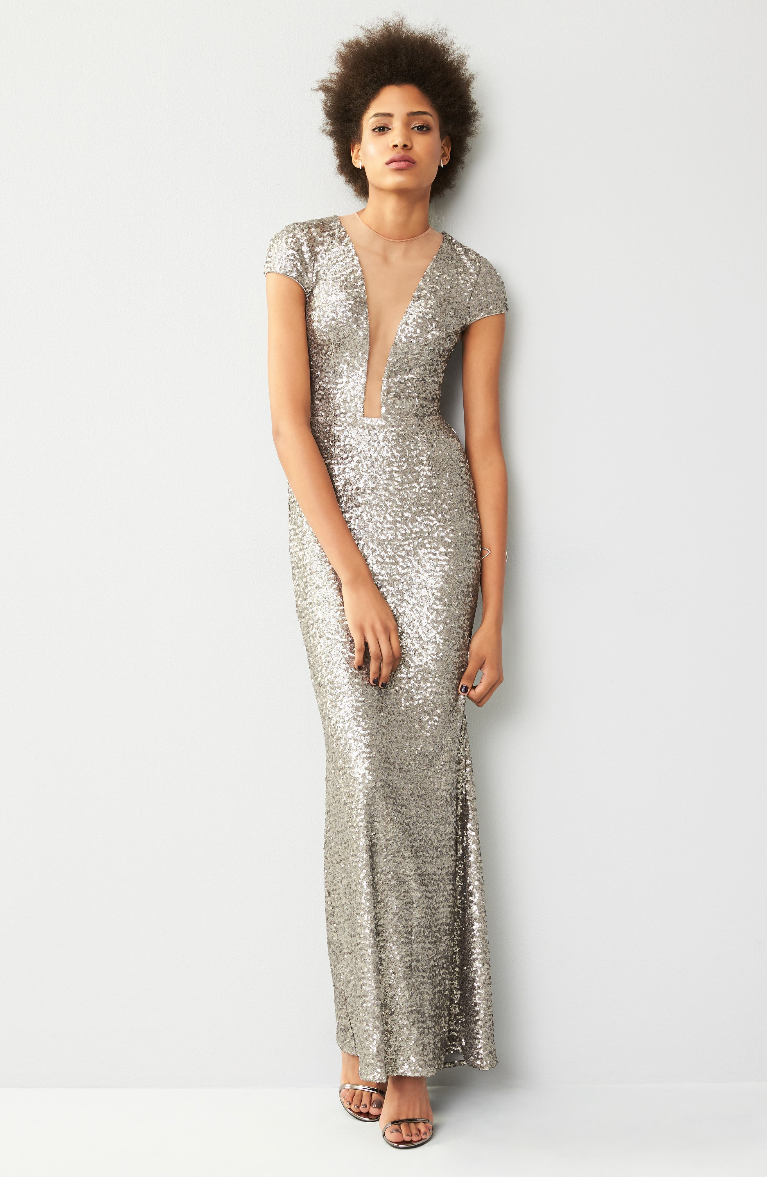Michelle Sequin Gown,                             Alternate thumbnail 7, color,                             PLATINUM
