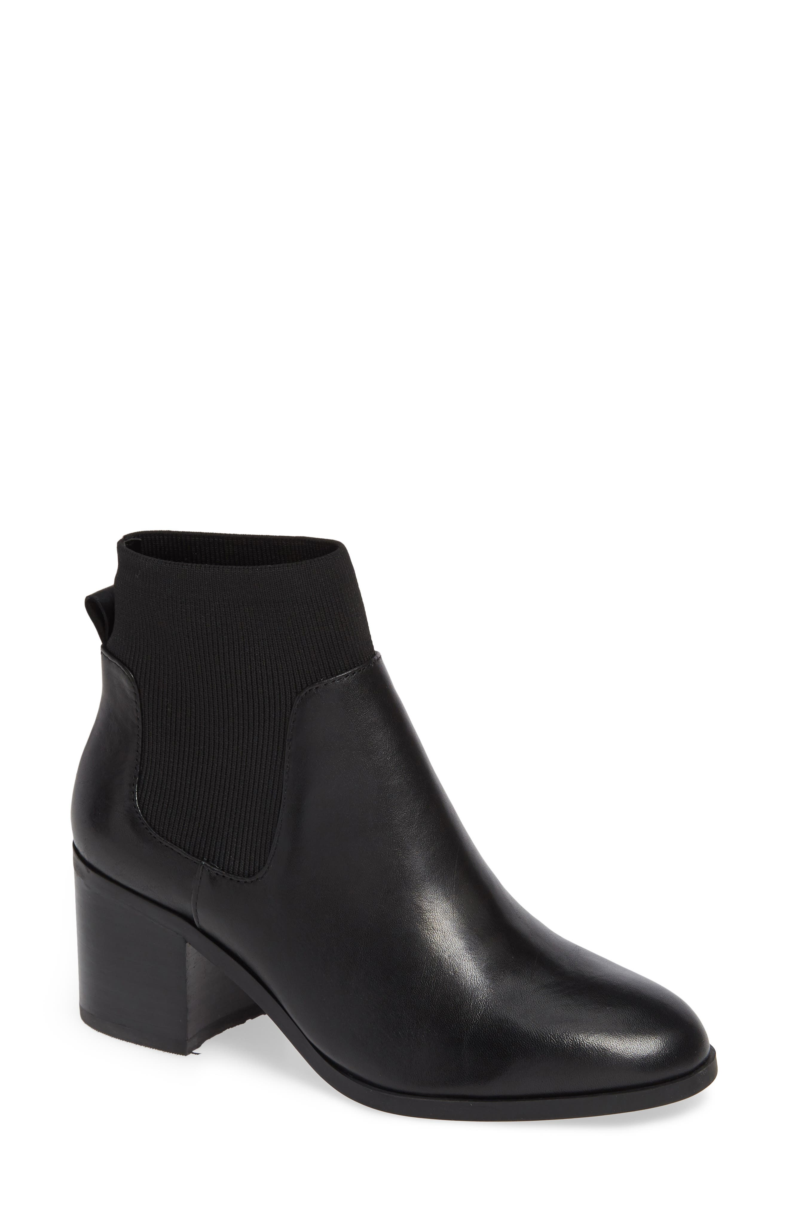 Erika Bootie,                             Main thumbnail 1, color,                             BLACK LEATHER