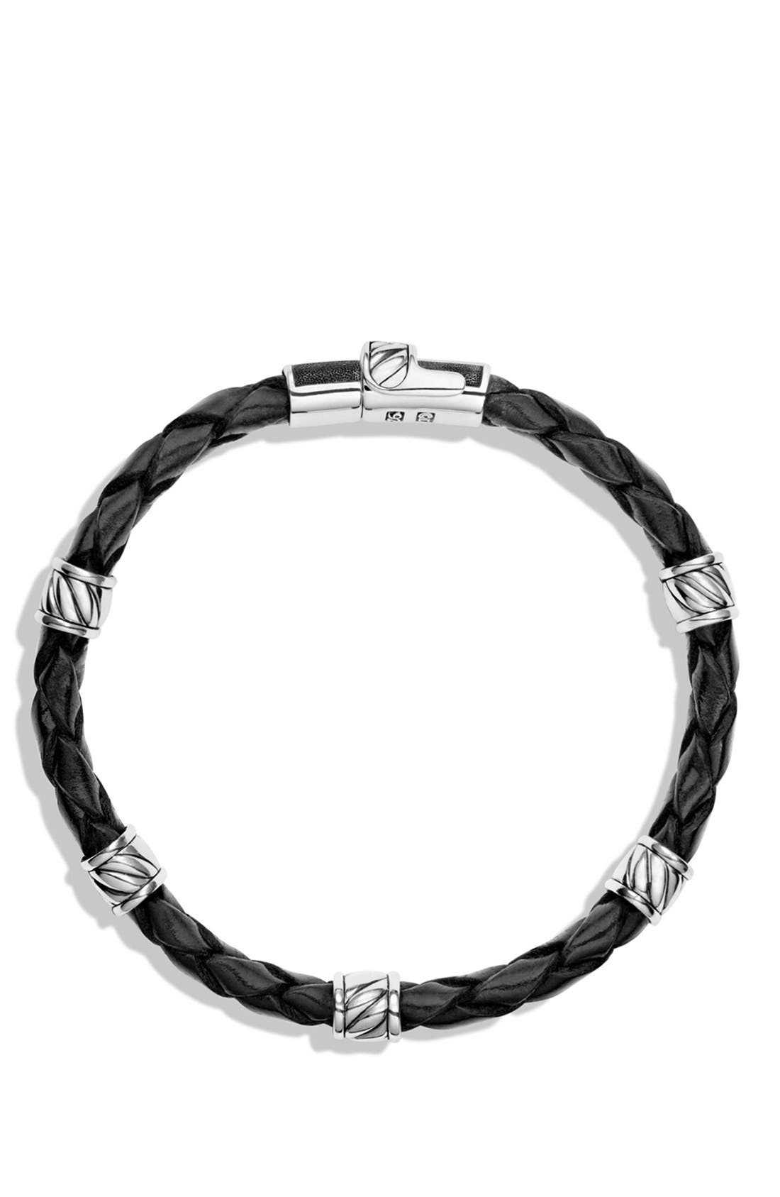 'Cable Classics' Leather Station Bracelet in Brown,                             Alternate thumbnail 2, color,                             BLACK