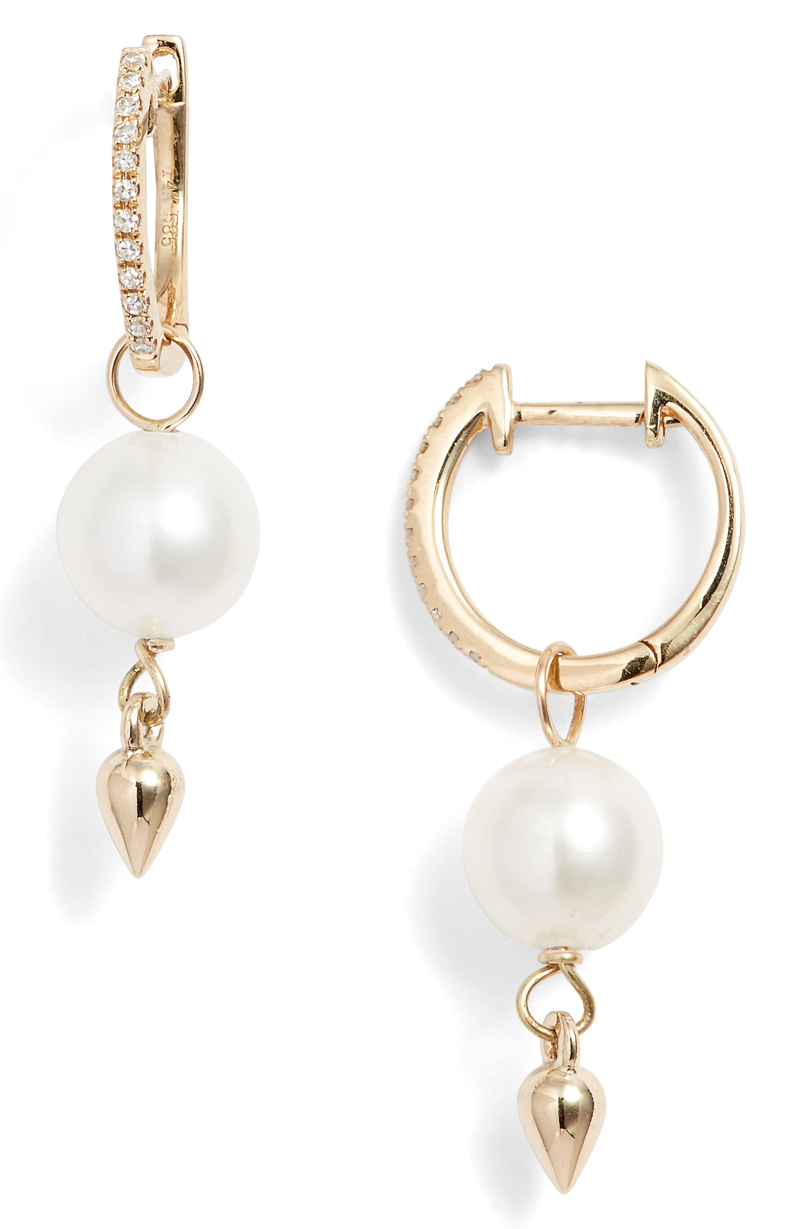 Pearl & Diamond Drop Earrings,                         Main,                         color, 710