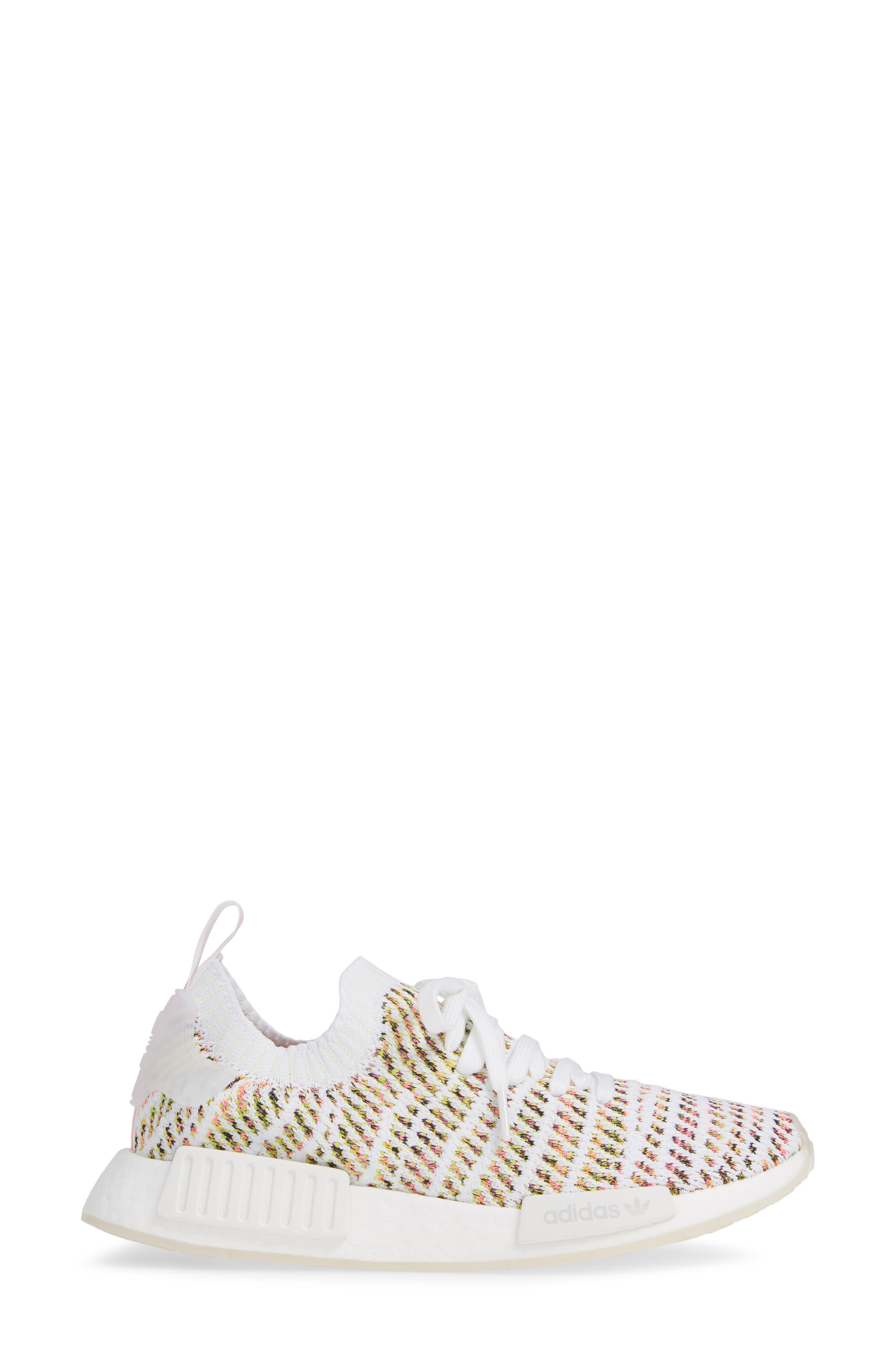 NMD R1 STLT Primeknit Sneaker,                             Alternate thumbnail 3, color,                             WHITE/ YELLOW/ SOLAR PINK
