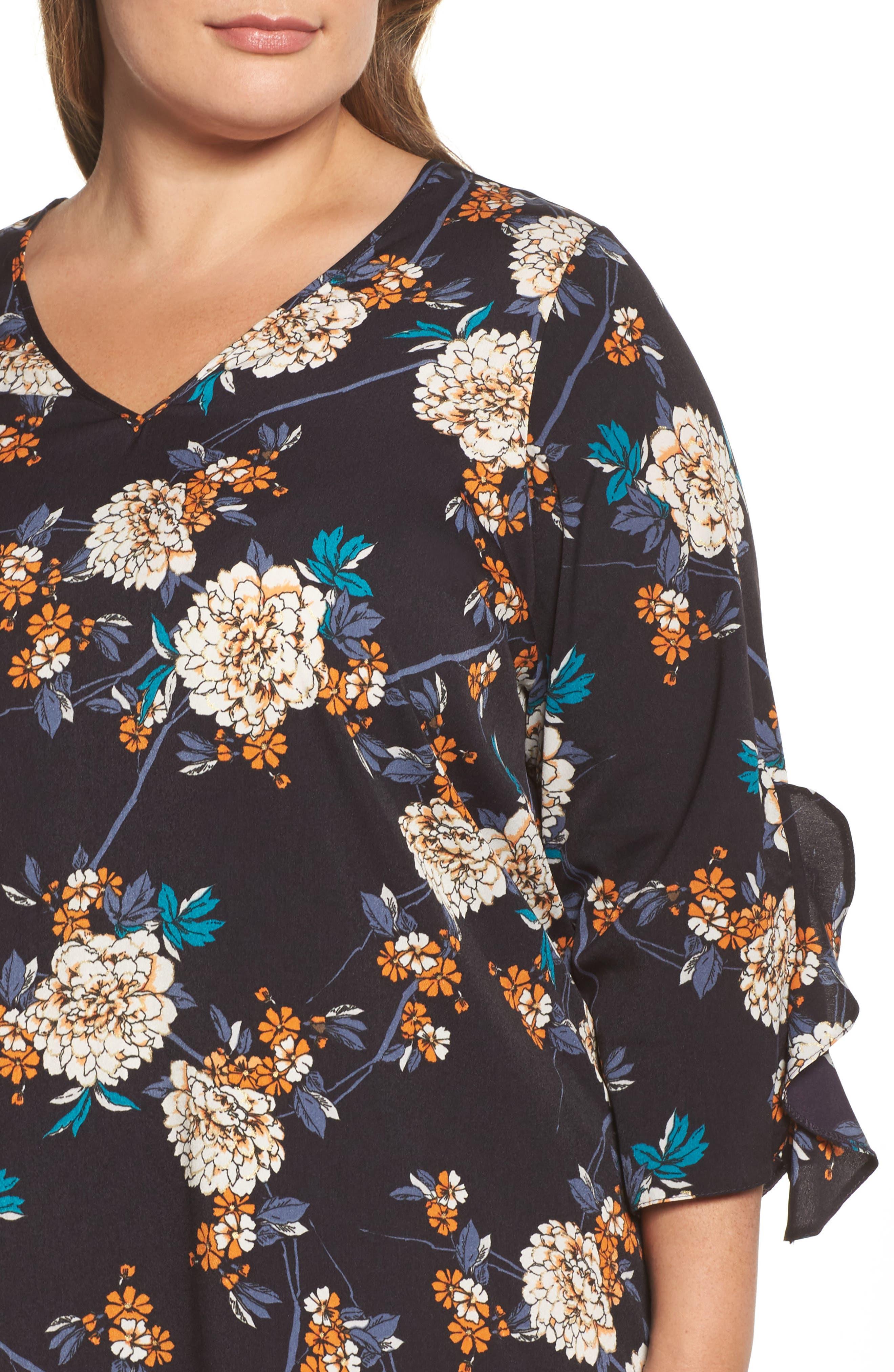 Floral Print Ruffle Sleeve Shift Dress,                             Alternate thumbnail 4, color,                             400
