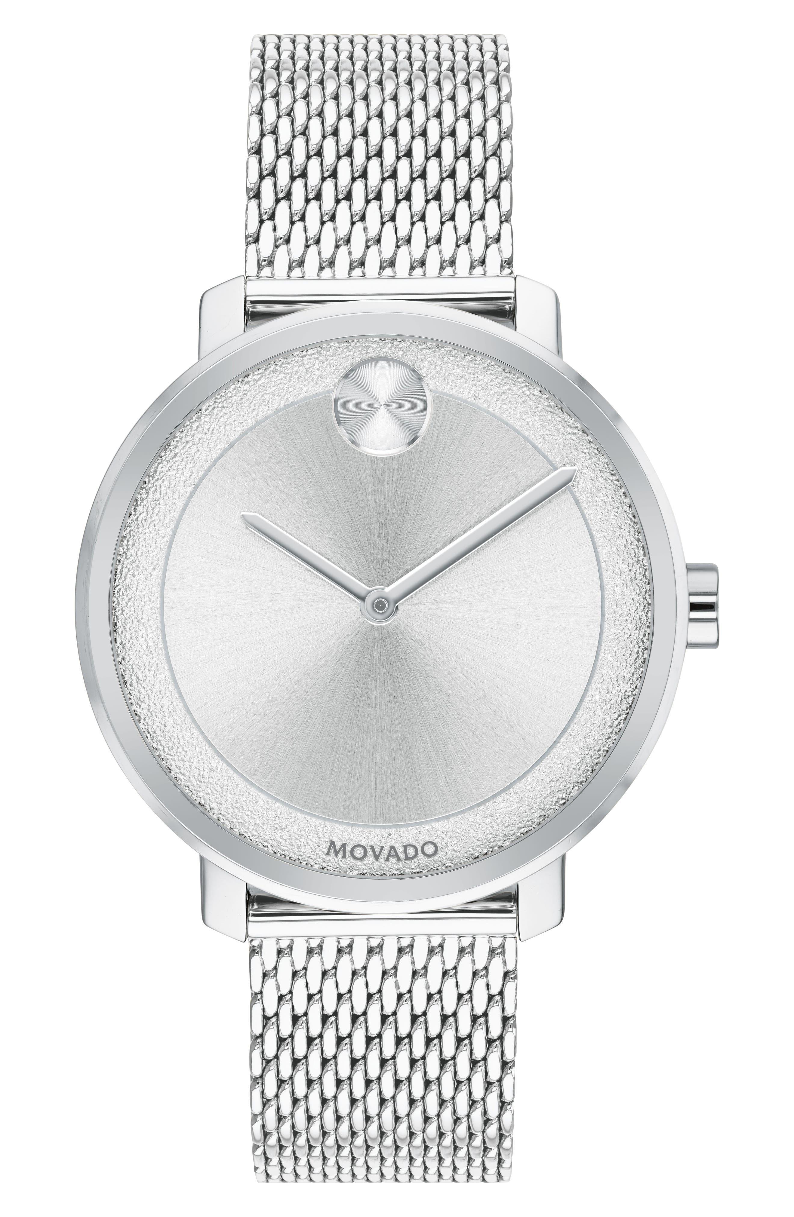 Bold Mesh Bracelet Watch, 34mm, Main, color, SILVER