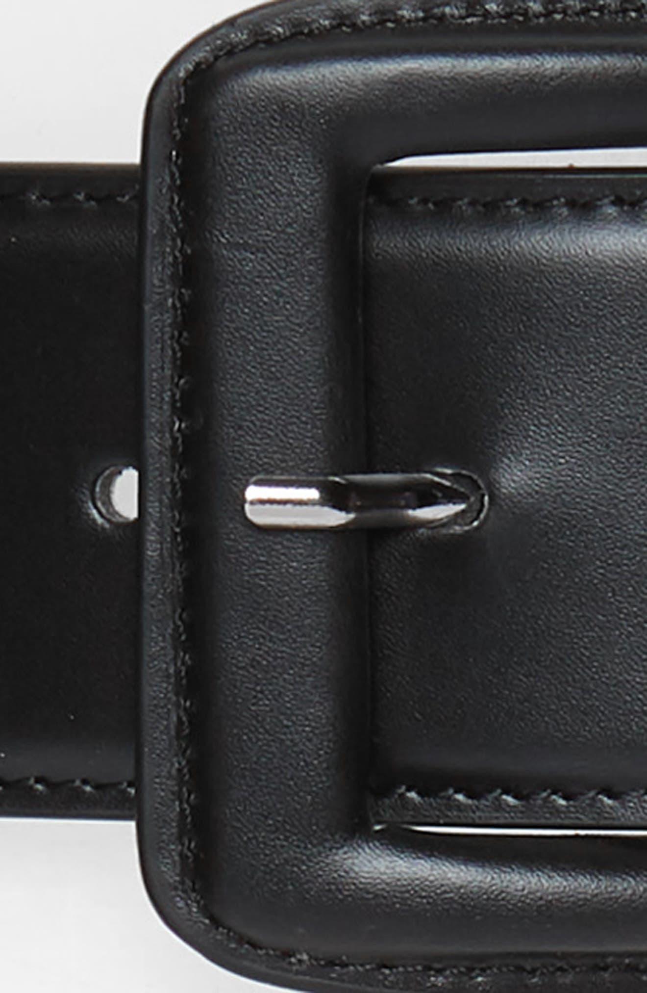 Faux Leather Stretch Belt,                             Alternate thumbnail 3, color,                             BLACK