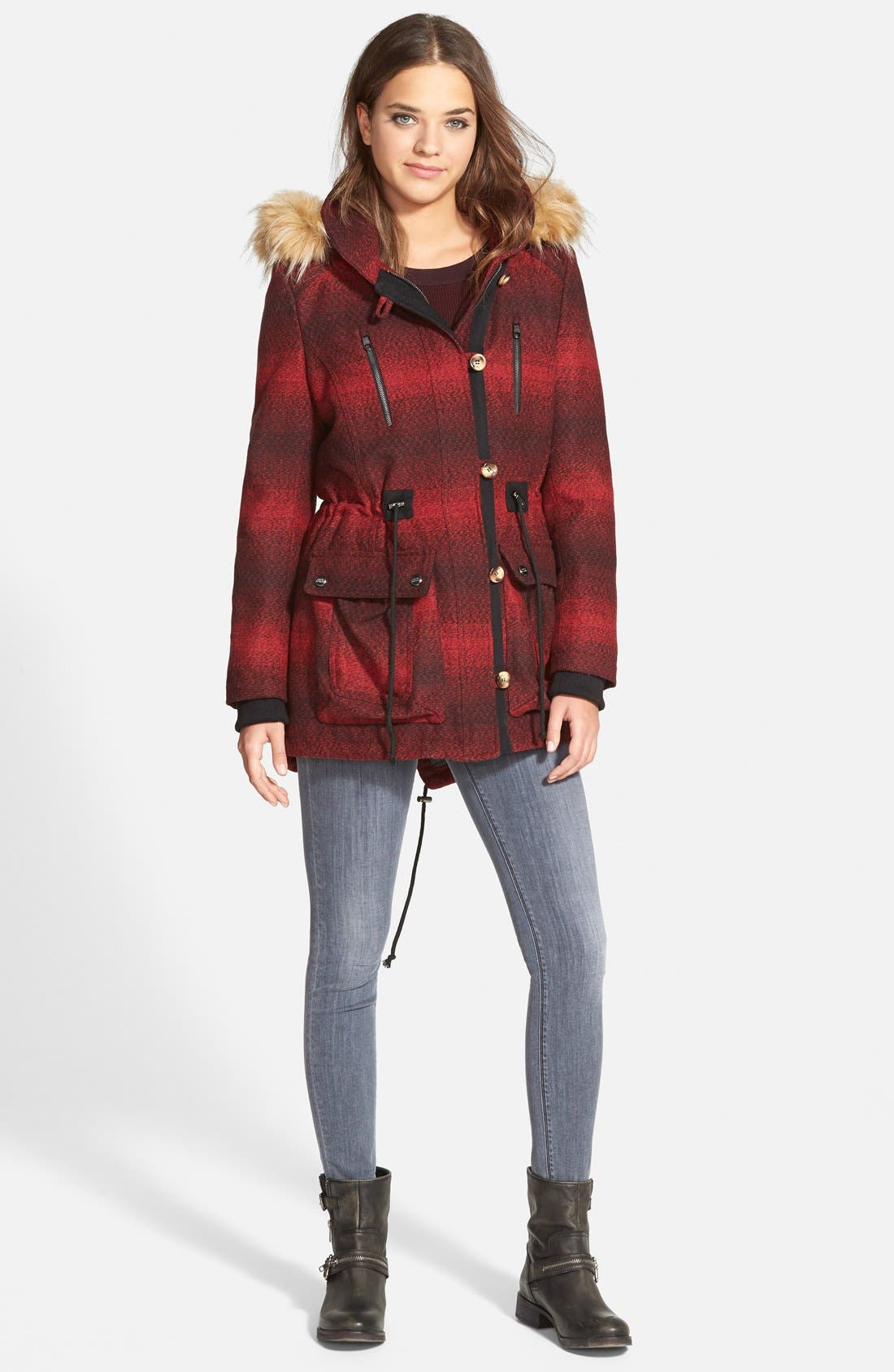 'Red Stripe' Hooded Duffle Coat with Faux Fur Trim,                             Alternate thumbnail 2, color,                             600