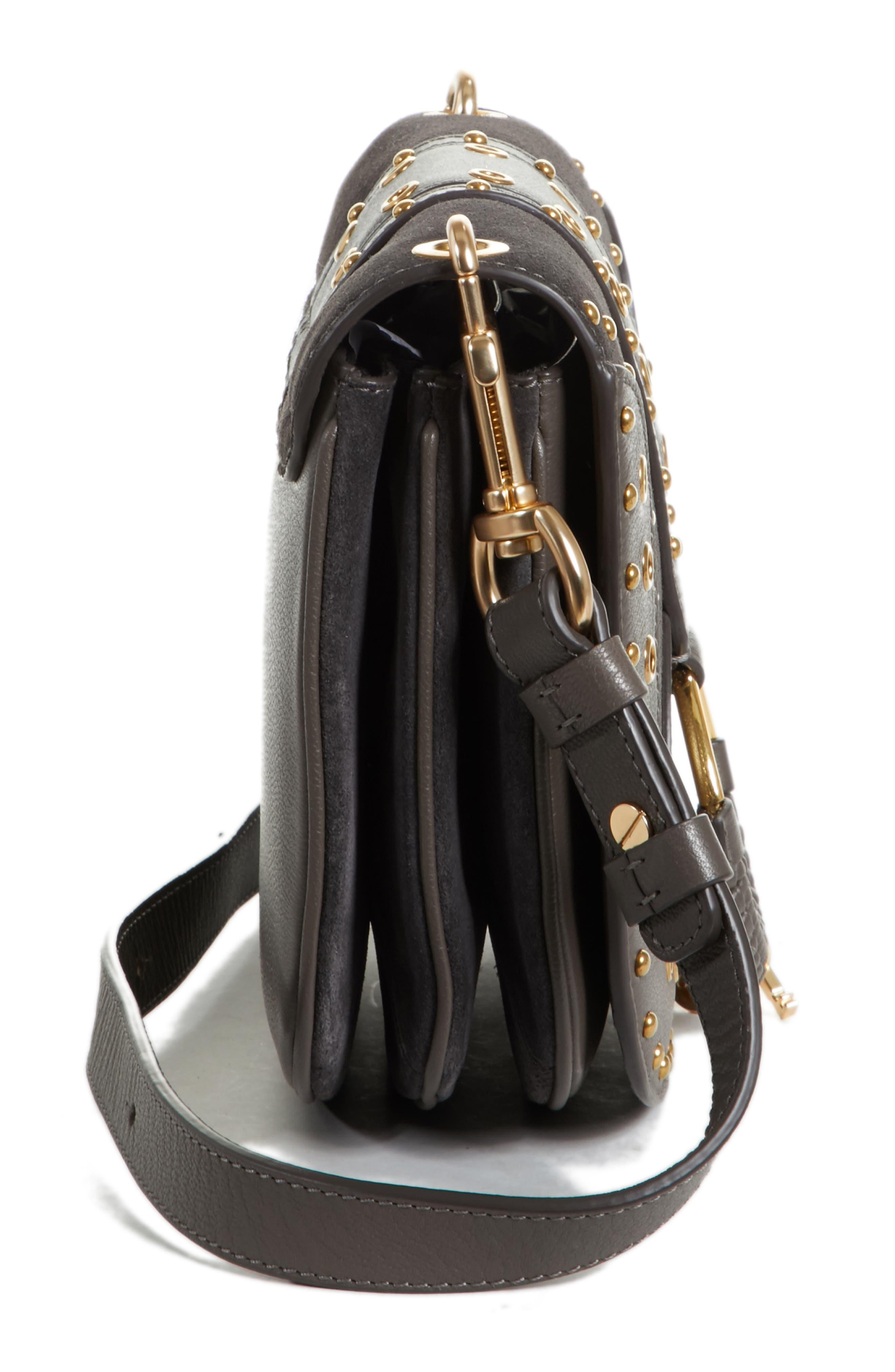 Small Hana Studded Leather Crossbody Bag,                             Alternate thumbnail 5, color,                             201