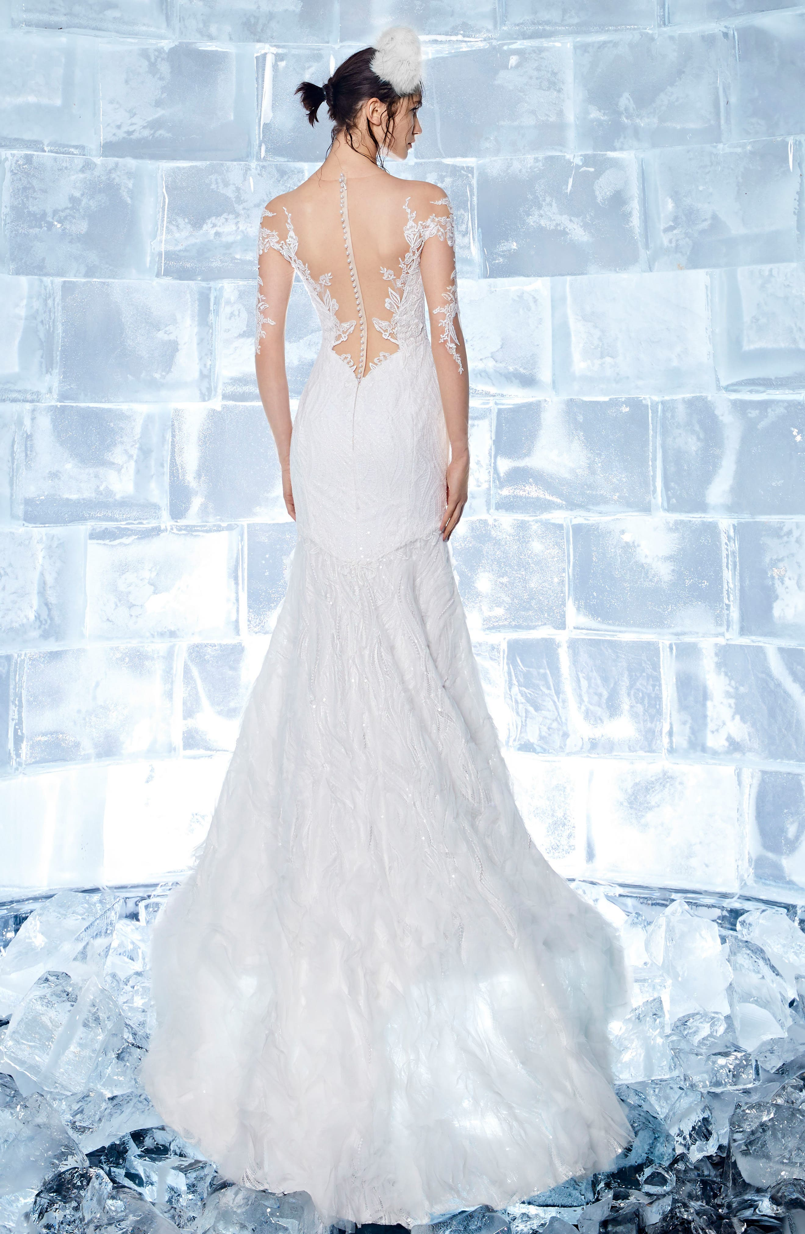 INES BY INES DI SANTO,                             Garnet Embroidered Illusion Mermaid Gown,                             Alternate thumbnail 2, color,                             OFF WHITE/ SOFT NUDE