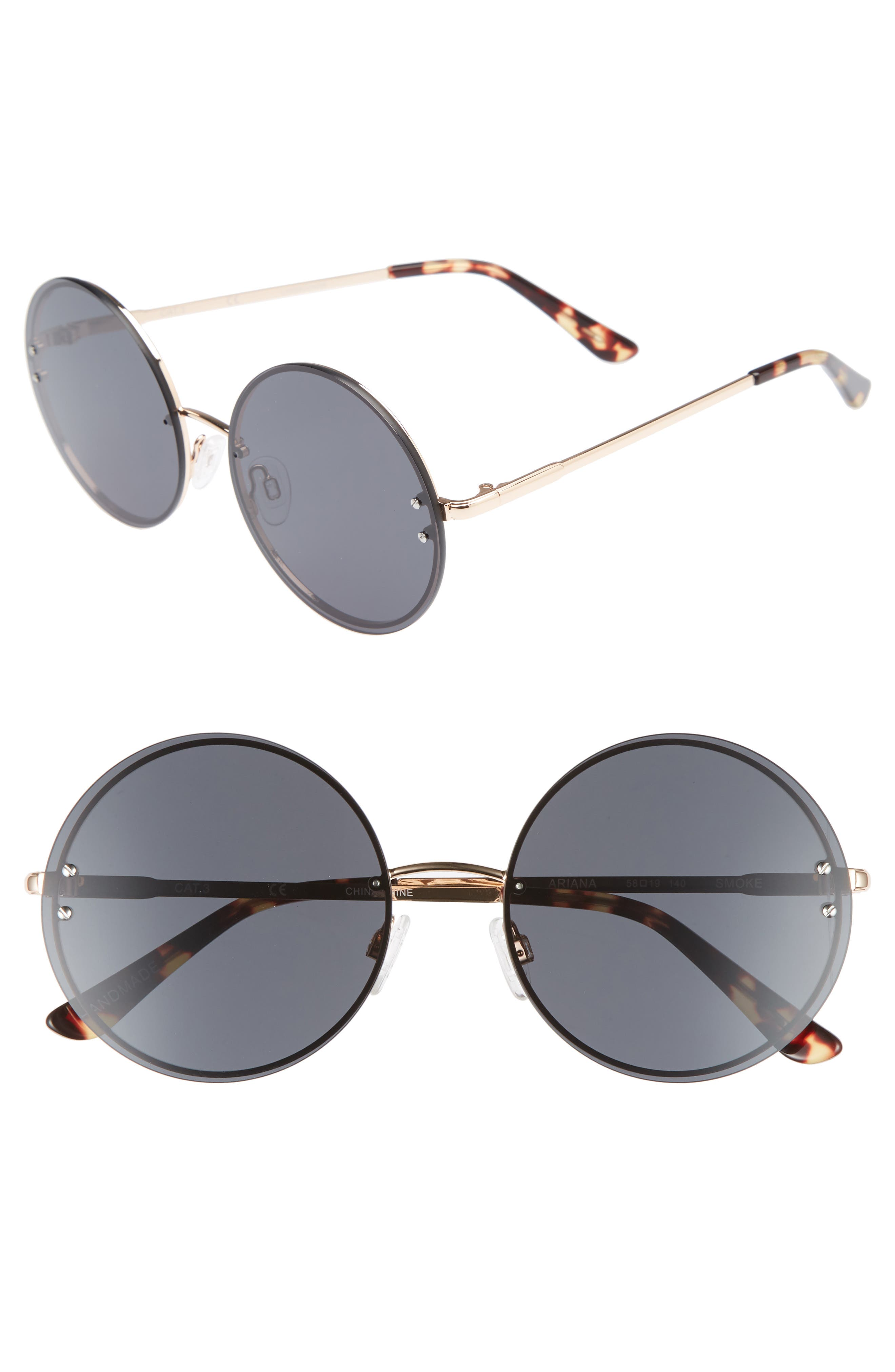 Ariana 58mm Round Sunglasses,                         Main,                         color, SOLID SMOKE