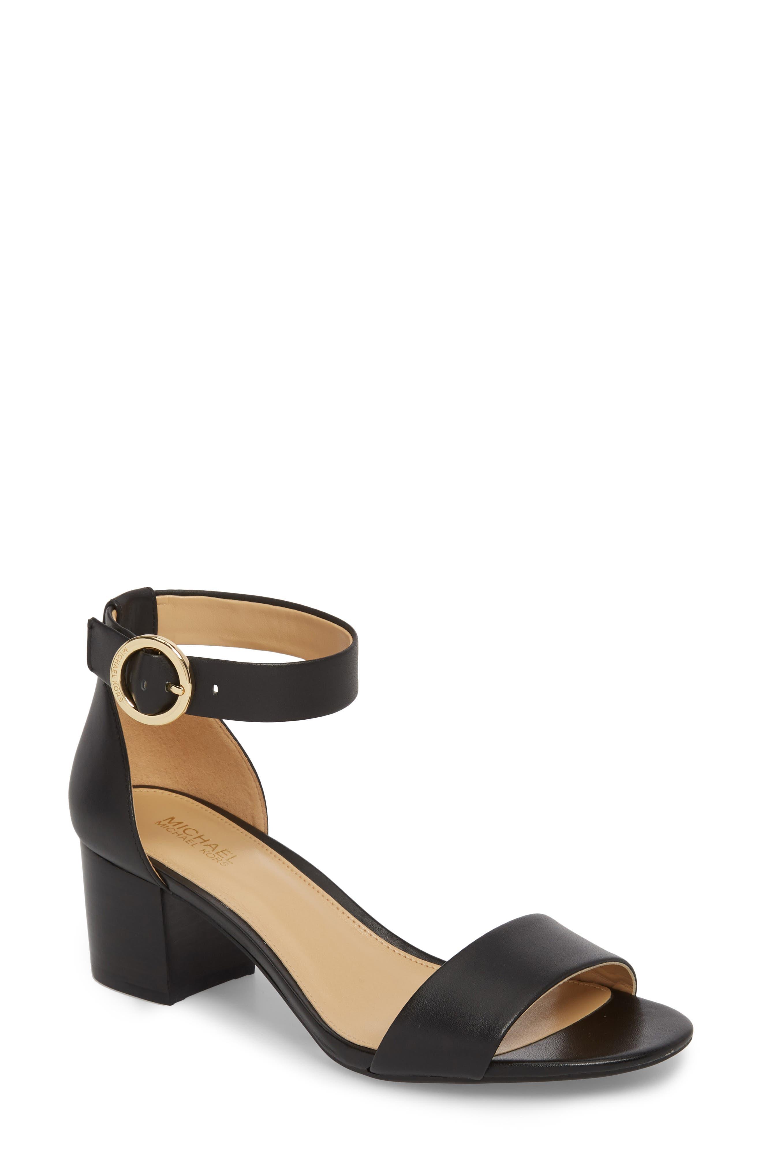 Lena Block Heel Sandal,                             Main thumbnail 1, color,                             BLACK