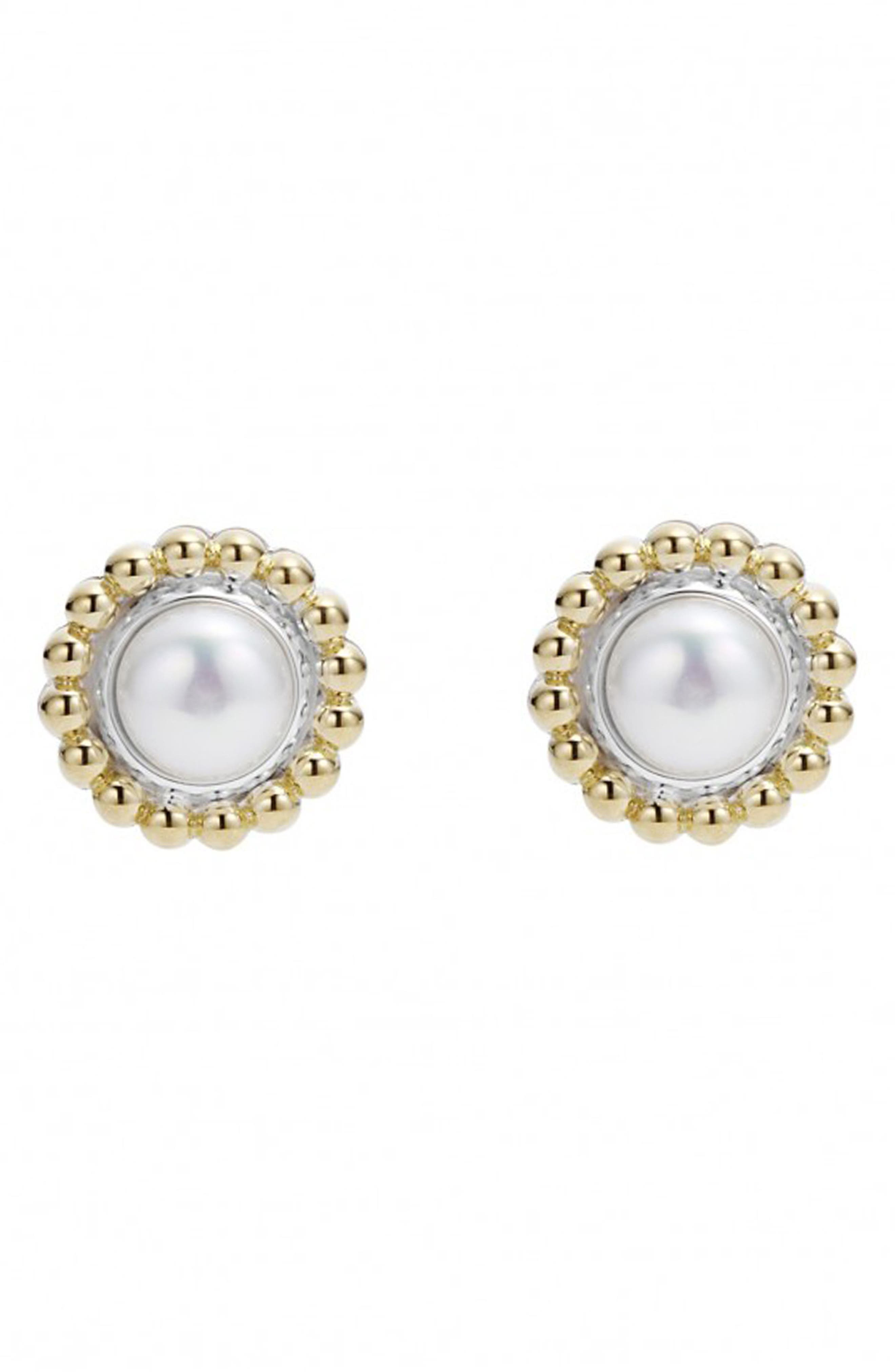 Stone Stud Earrings,                             Alternate thumbnail 2, color,                             PEARL