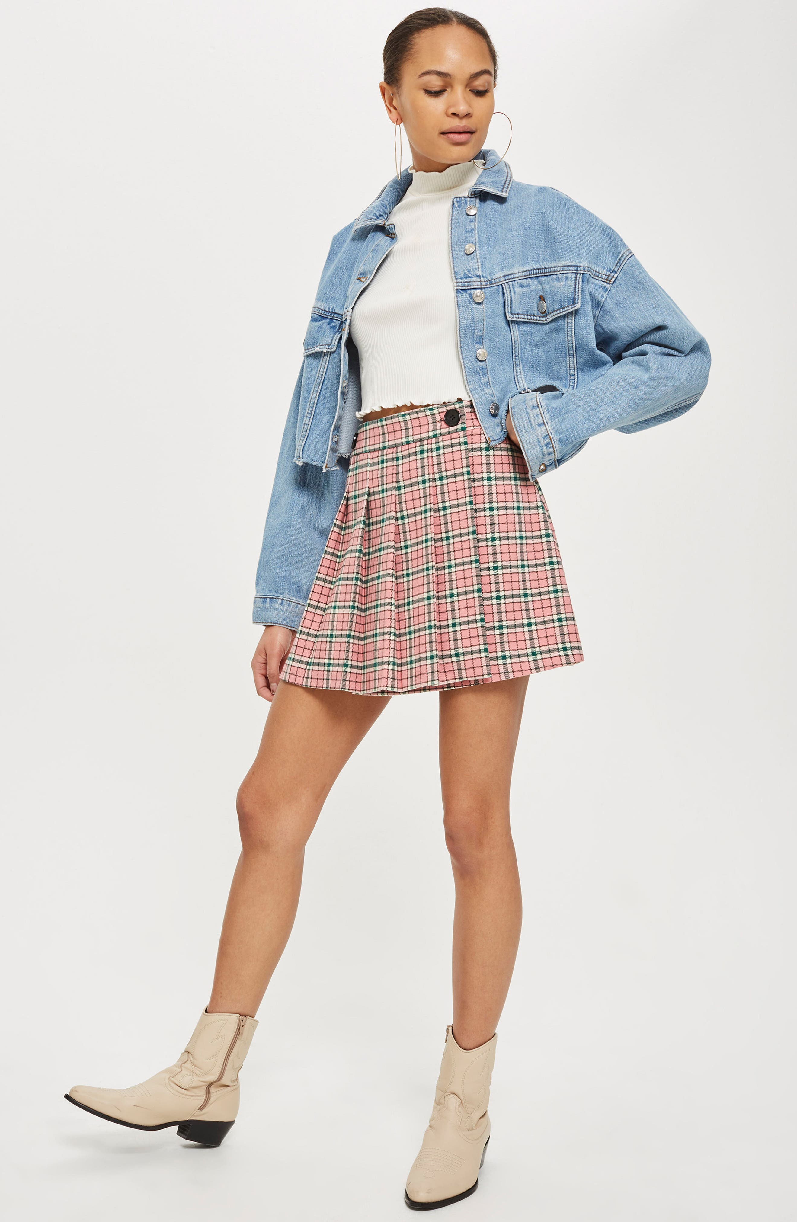 Summer Check Kilt Miniskirt,                             Alternate thumbnail 4, color,                             650