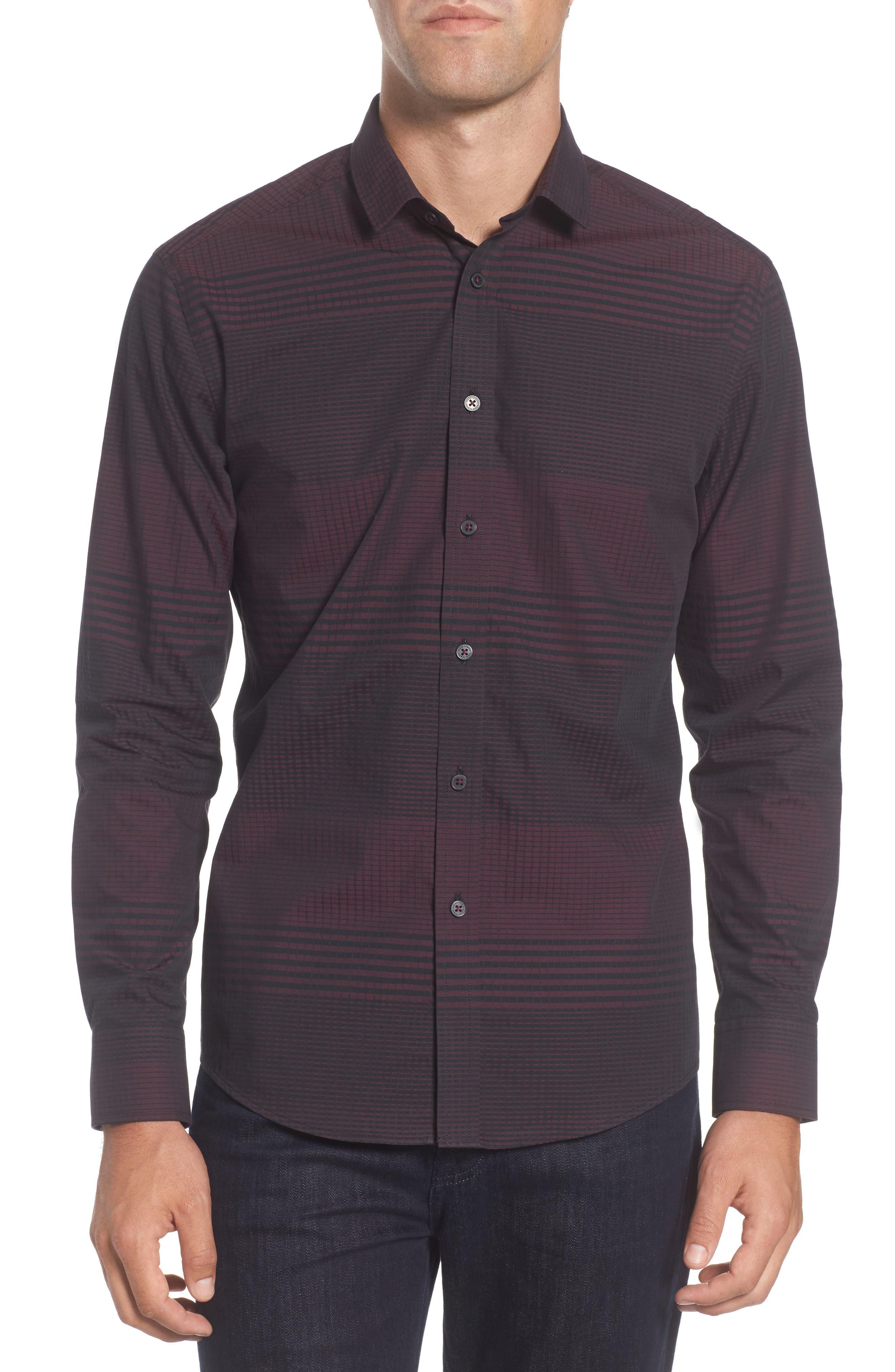 Slim Fit Check Plaid Sport Shirt,                         Main,                         color, BURGUNDY/ BLACK CHECK PLAID