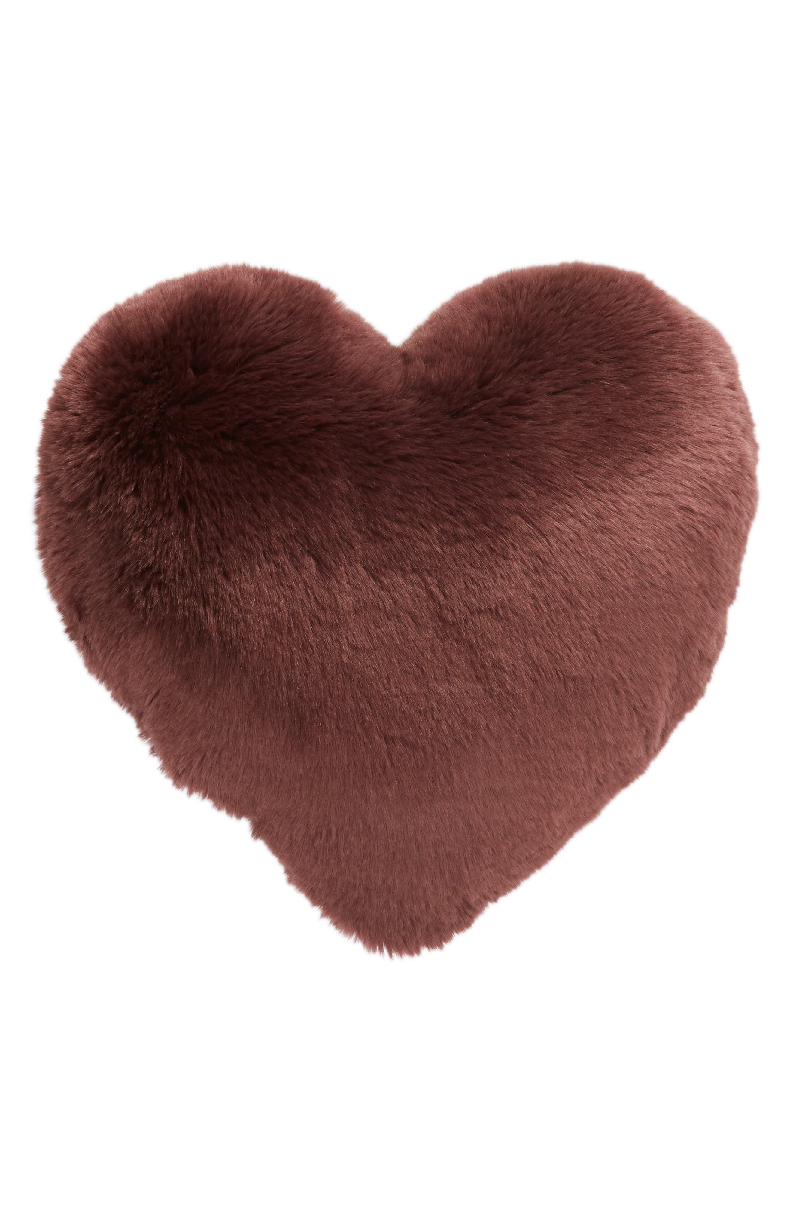 'Cuddle Up' Faux Fur Heart Accent Pillow,                             Main thumbnail 1, color,                             BURGUNDY STEM