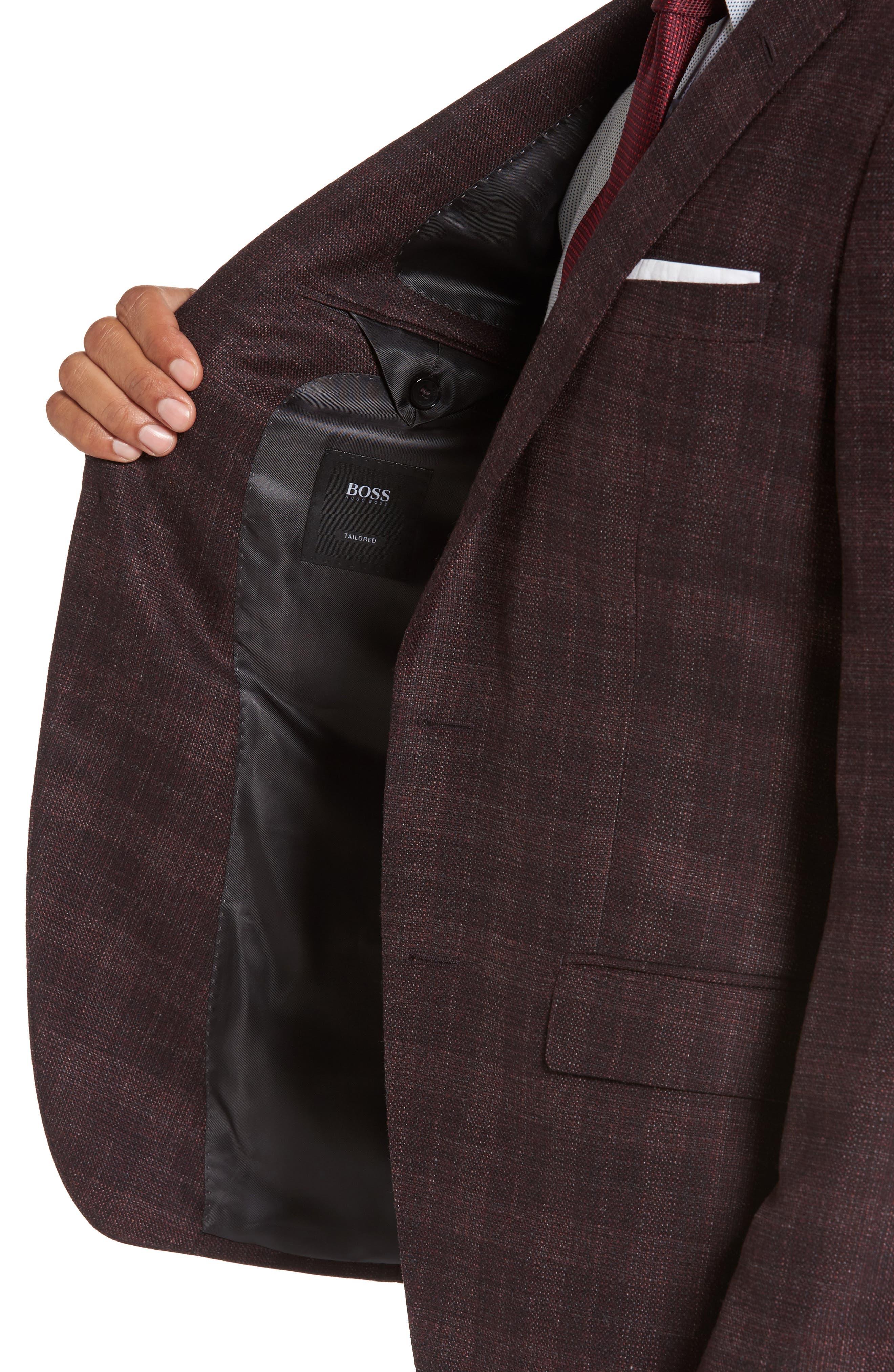 T-Heel Trim Fit Plaid Wool & Silk Sport Coat,                             Alternate thumbnail 4, color,                             606