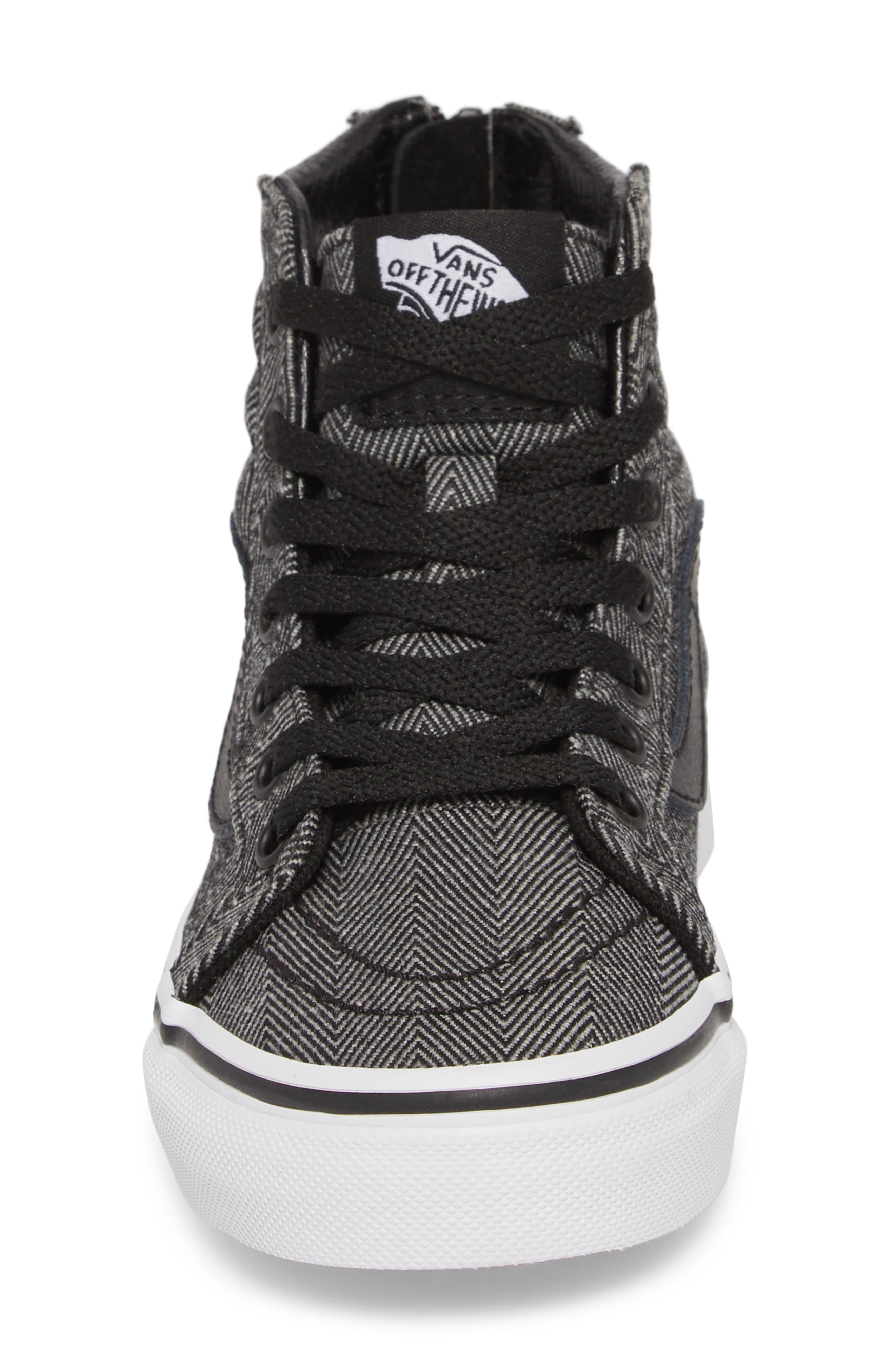 'Sk8-Hi' Sneaker,                             Alternate thumbnail 4, color,                             HERRINGBONE BLACK/ TRUE WHITE