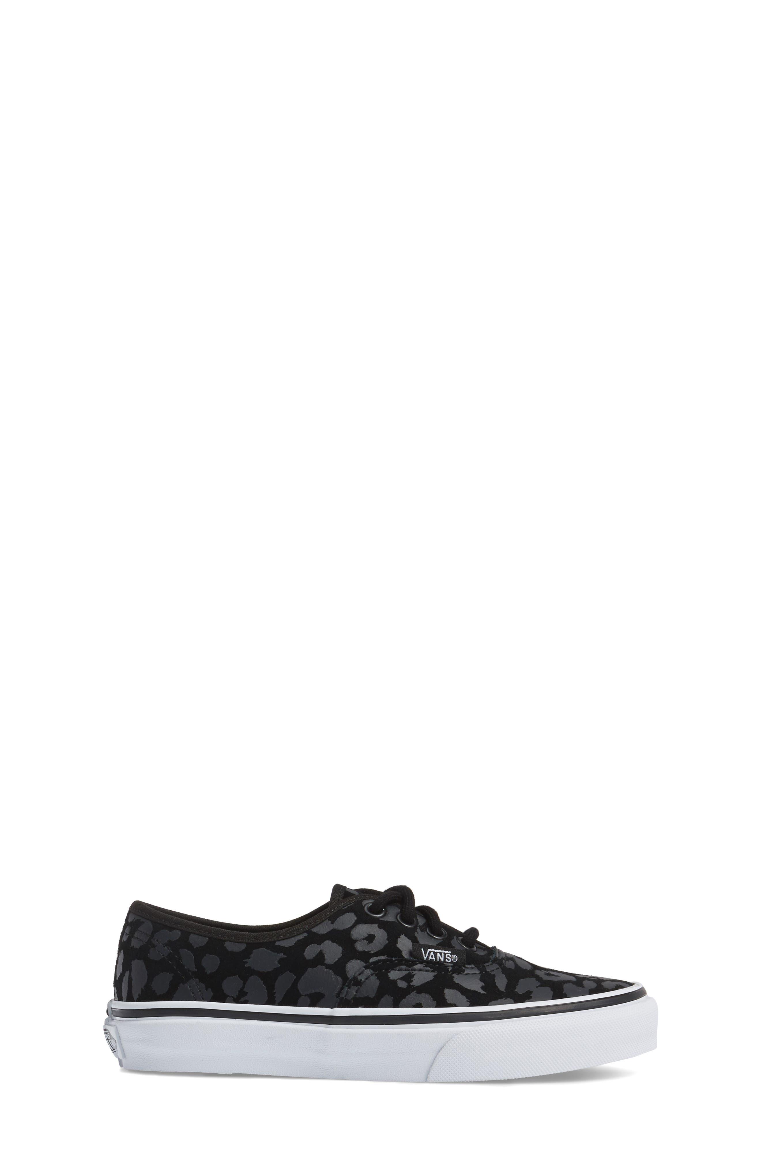 Authentic Leopard Print Sneaker,                             Alternate thumbnail 3, color,                             001