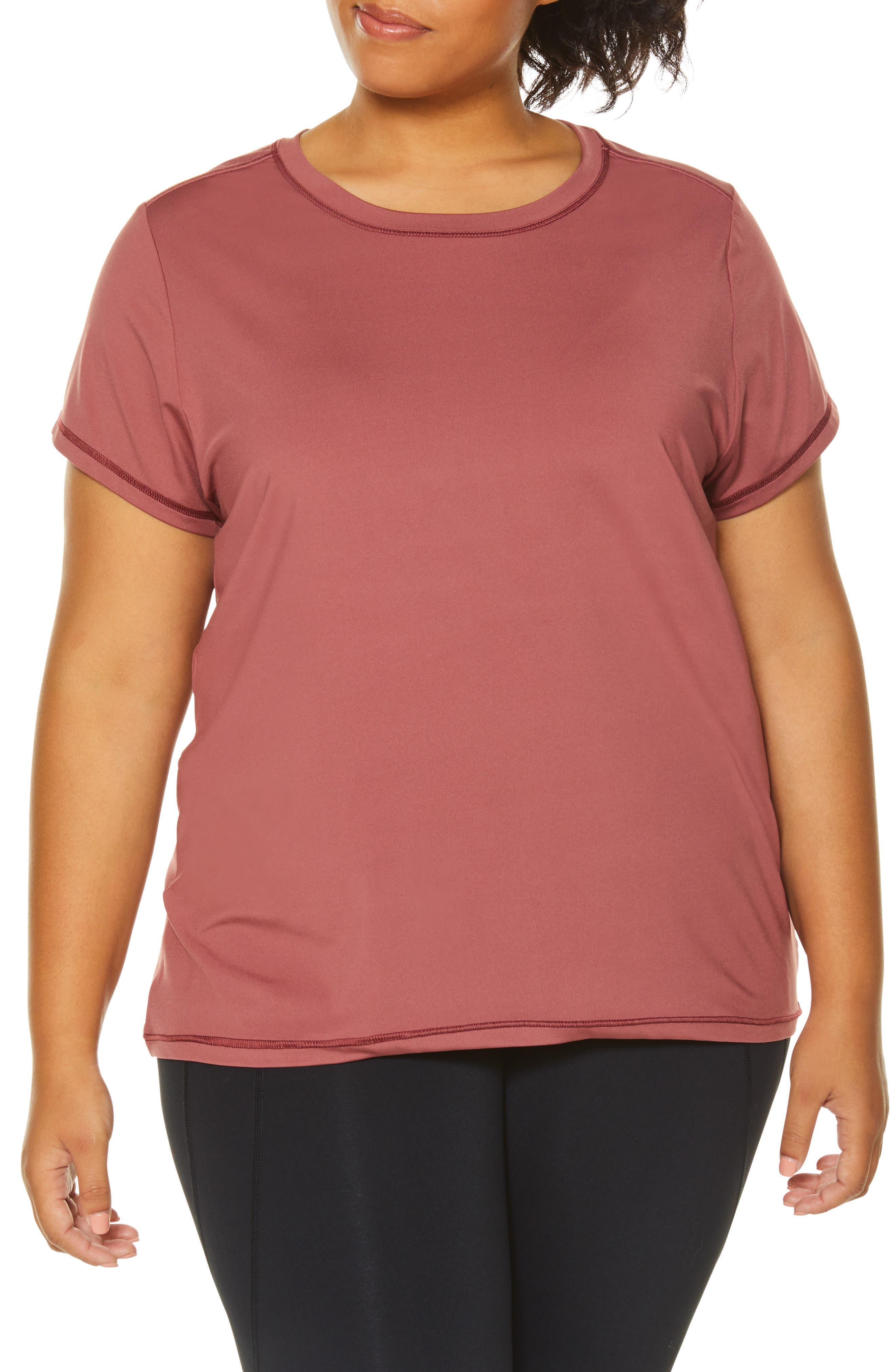 Plus Size Shape Activewear Wishbone Tee, Burgundy